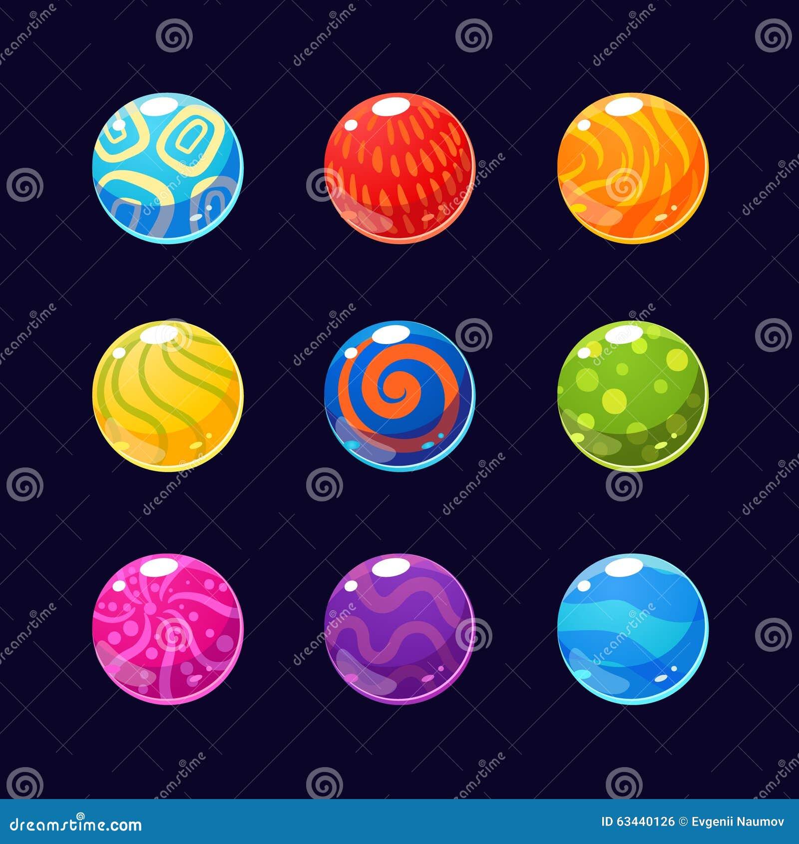 五颜六色的光滑的石头和按钮有闪闪发光的