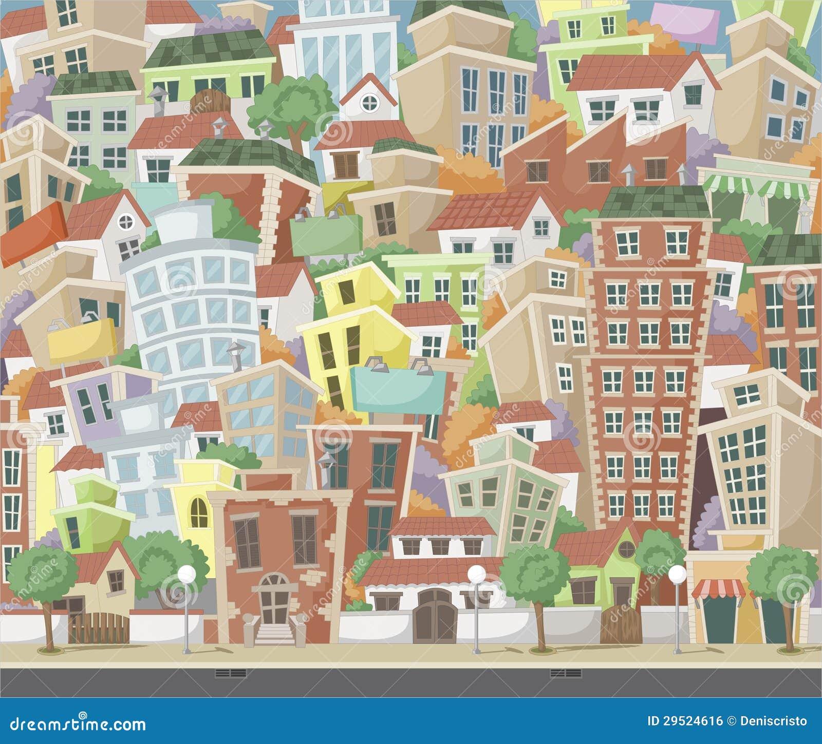 五颜六色的动画片城市
