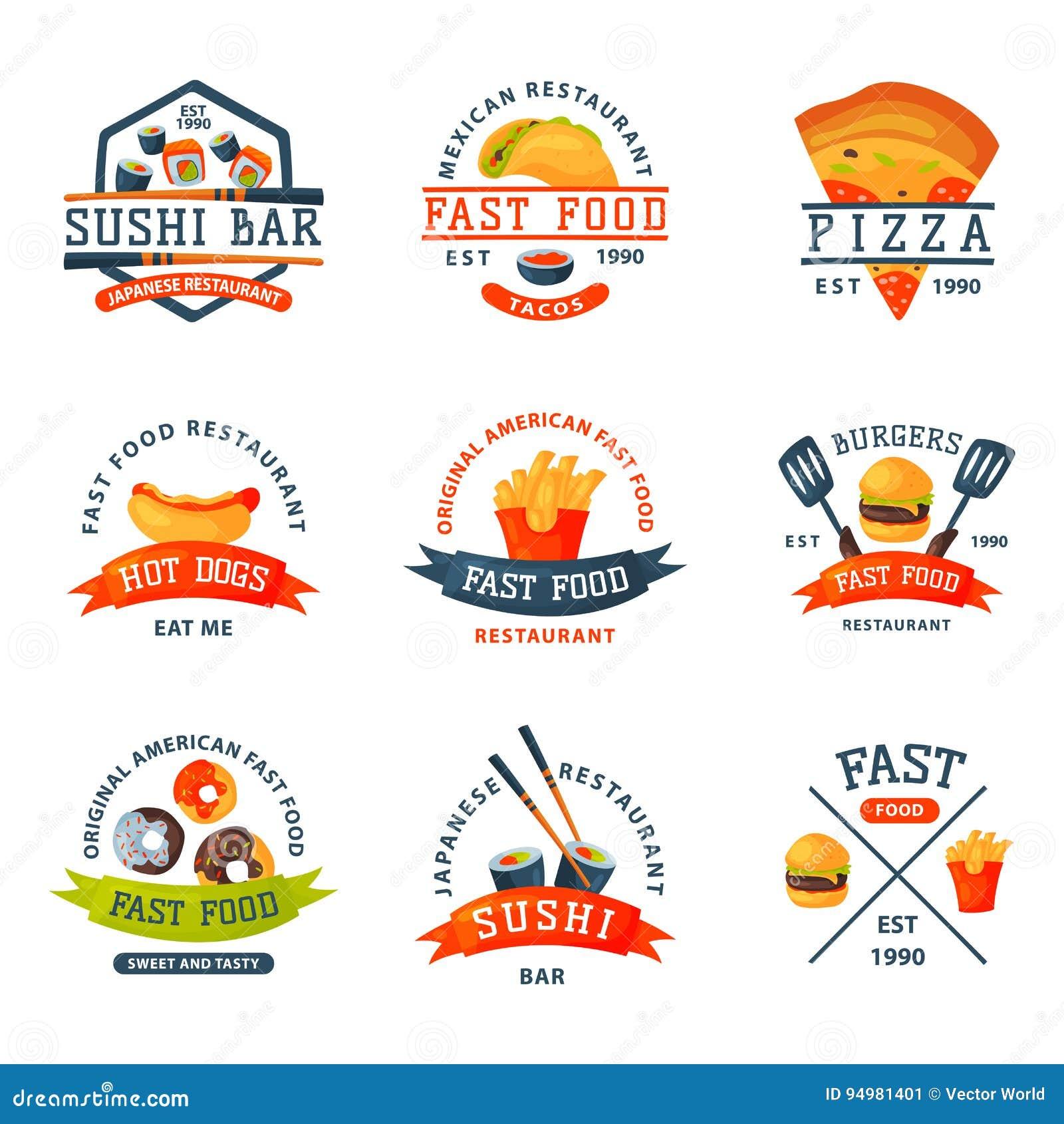 五颜六色的动画片快餐标签商标隔绝了餐馆鲜美美国乳酪汉堡徽章mea膳食传染媒介例证