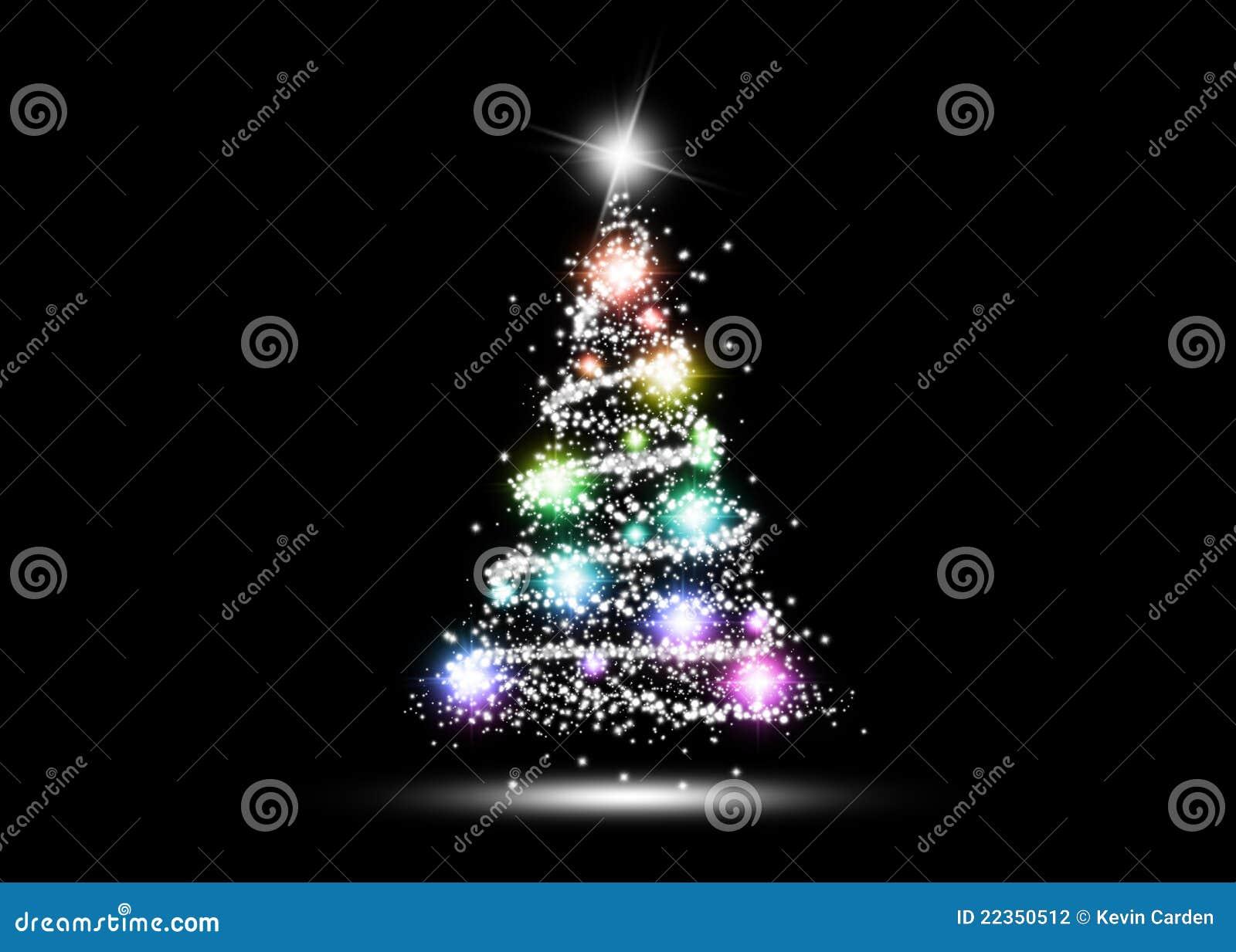 五颜六色的发光的圣诞树