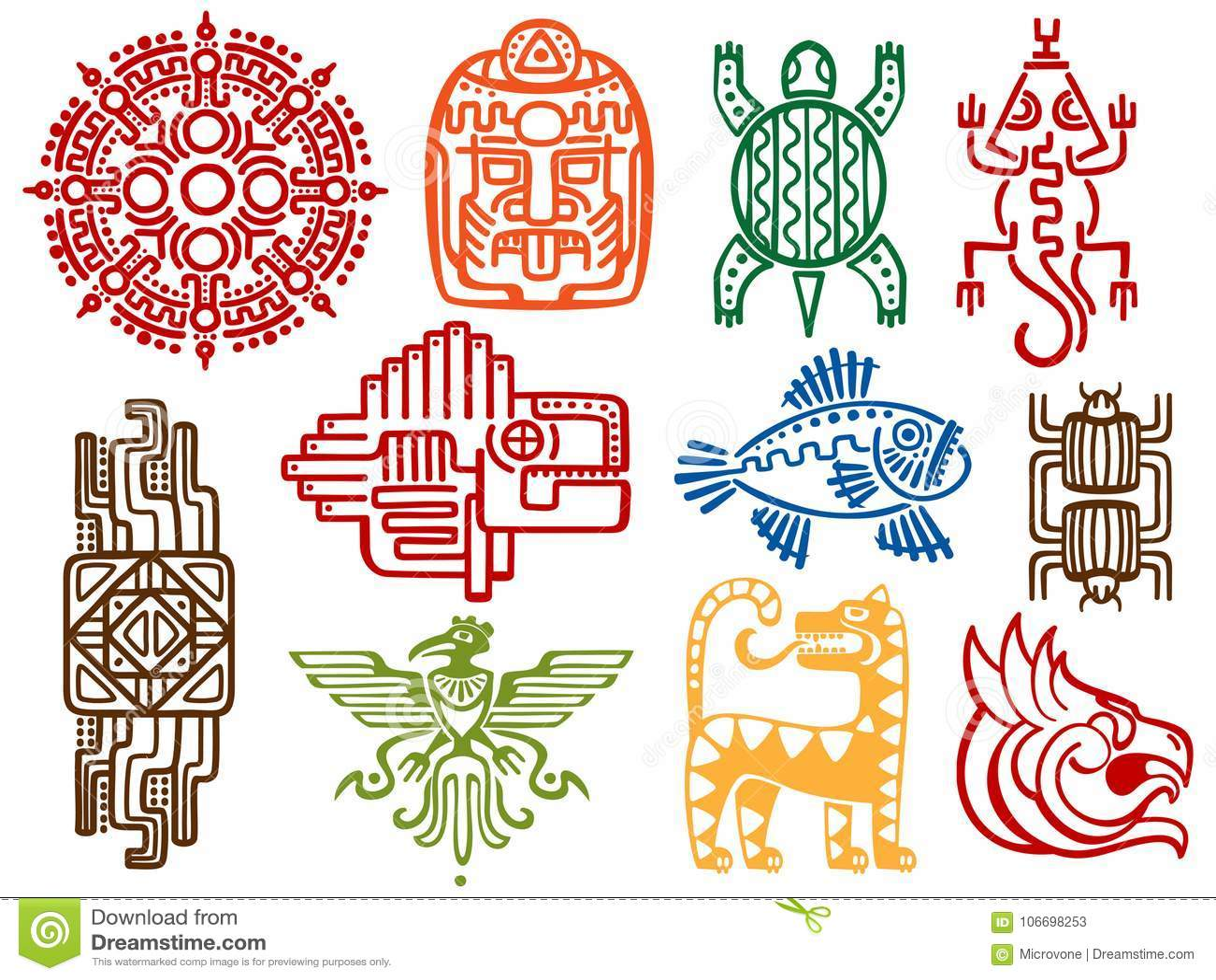 五颜六色的古老墨西哥传染媒介神话标志-美国阿兹台克人,玛雅文化当地人图腾