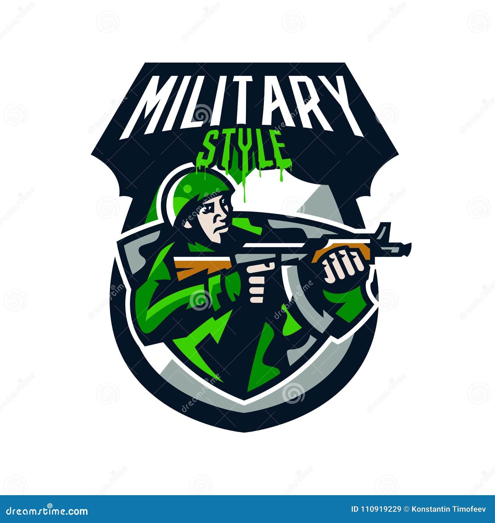 五颜六色的商标,徽章,一次战士射击的象征从冲锋枪的 制服的,盔甲,机枪战士