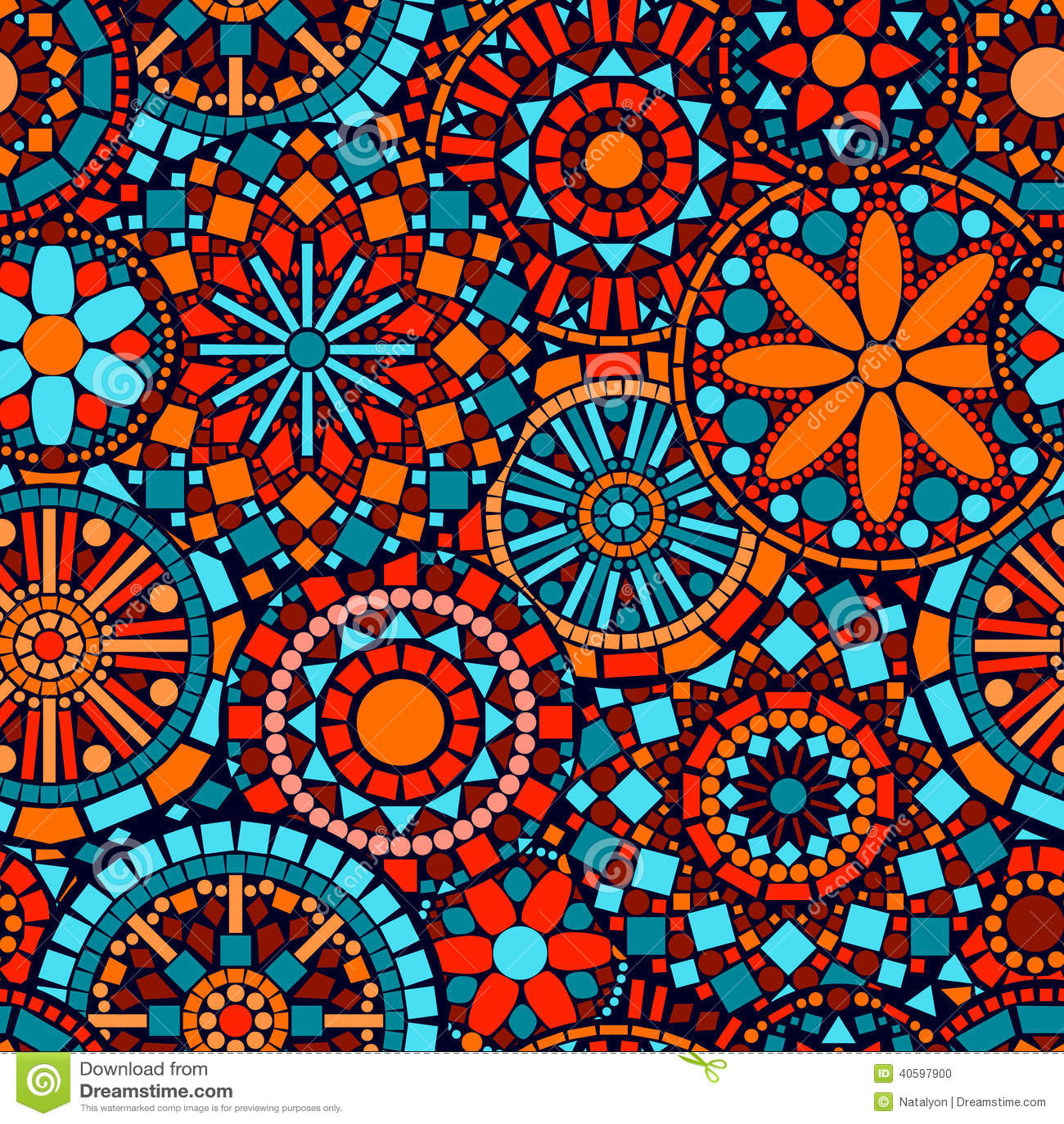 五颜六色的圈子花坛场无缝的样式我