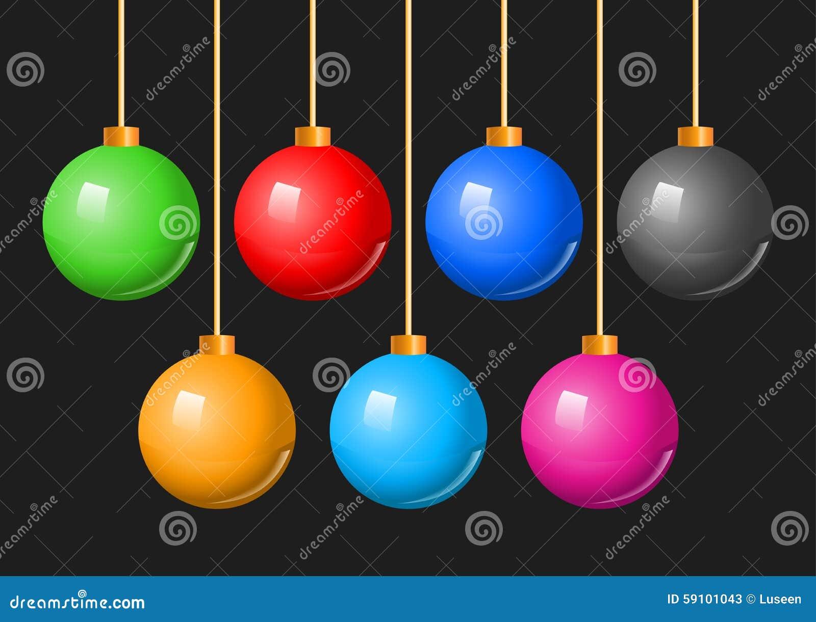五颜六色的圣诞节球中看不中用的物品集合