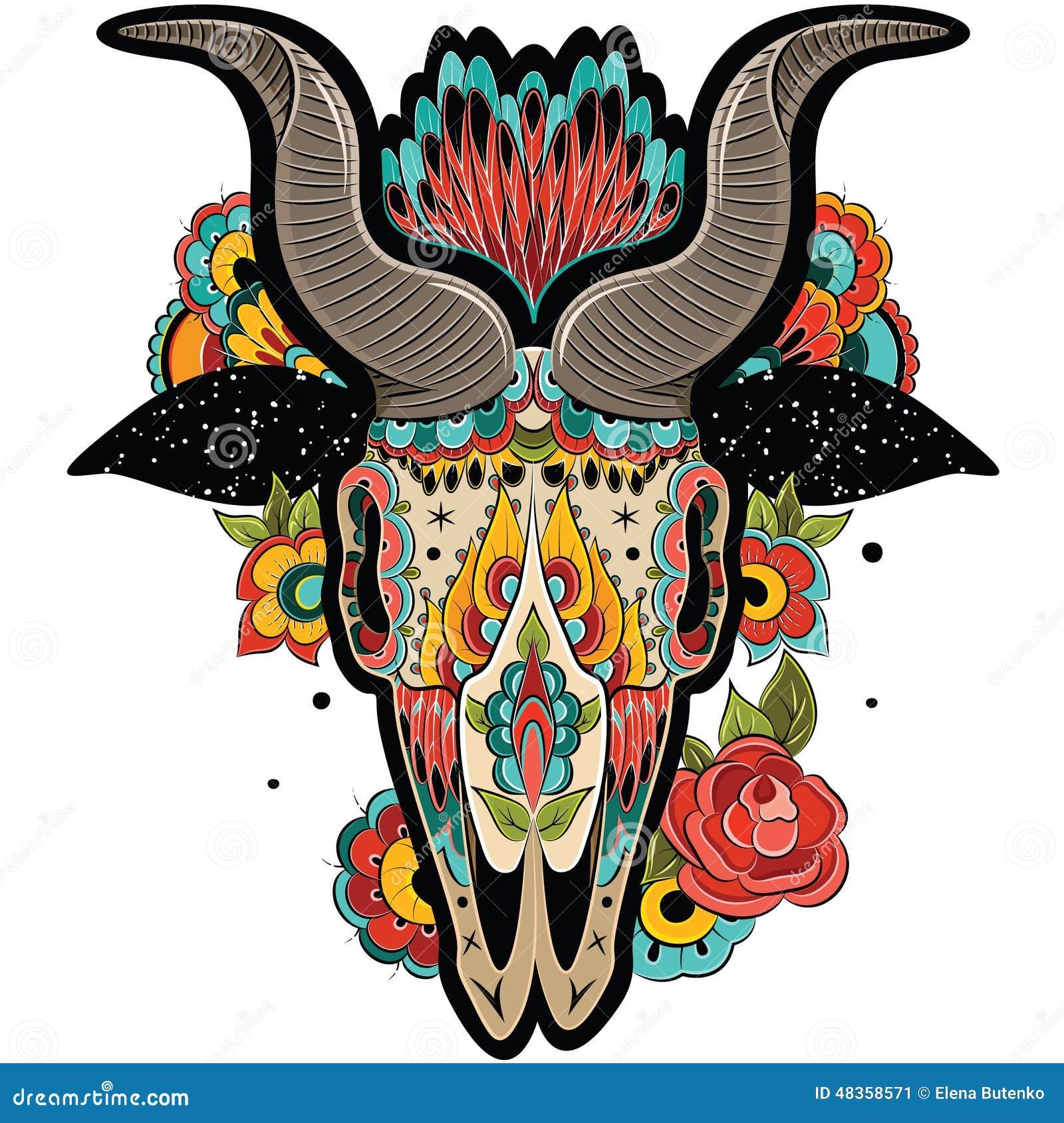 隔绝在白色背景,花卉纹身花刺装饰物样式 五颜六色的山羊头骨 也corel