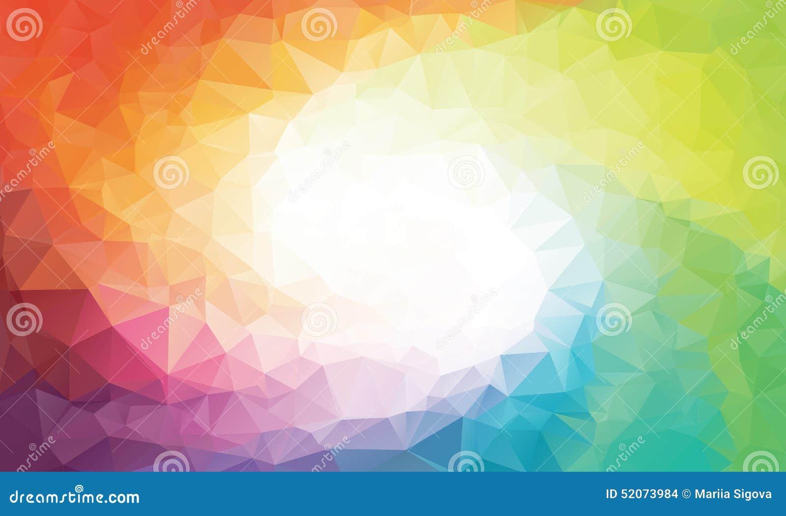 五颜六色的彩虹多角形背景或传染媒介