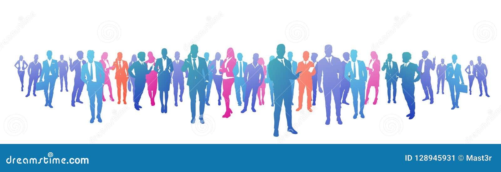 五颜六色的成功商人剪影、小组变化商人和女实业家成功的队概念