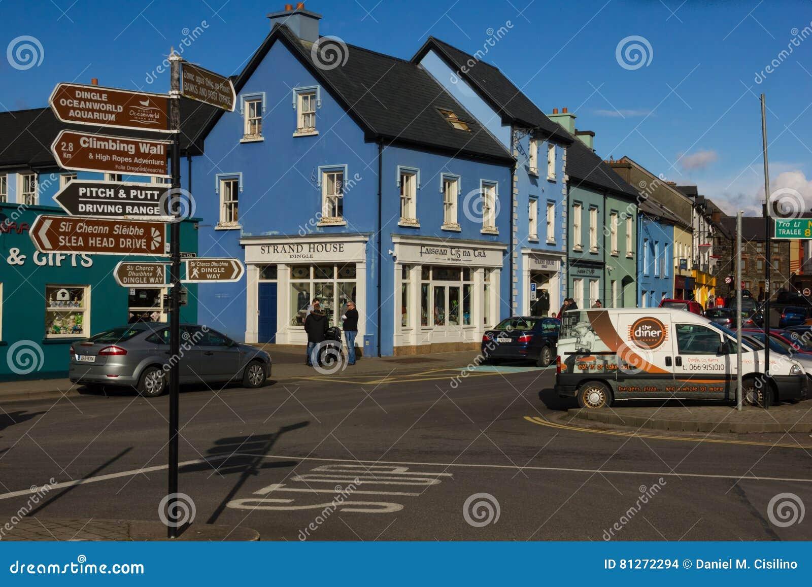 五颜六色的房子 子线街道 幽谷 爱尔兰