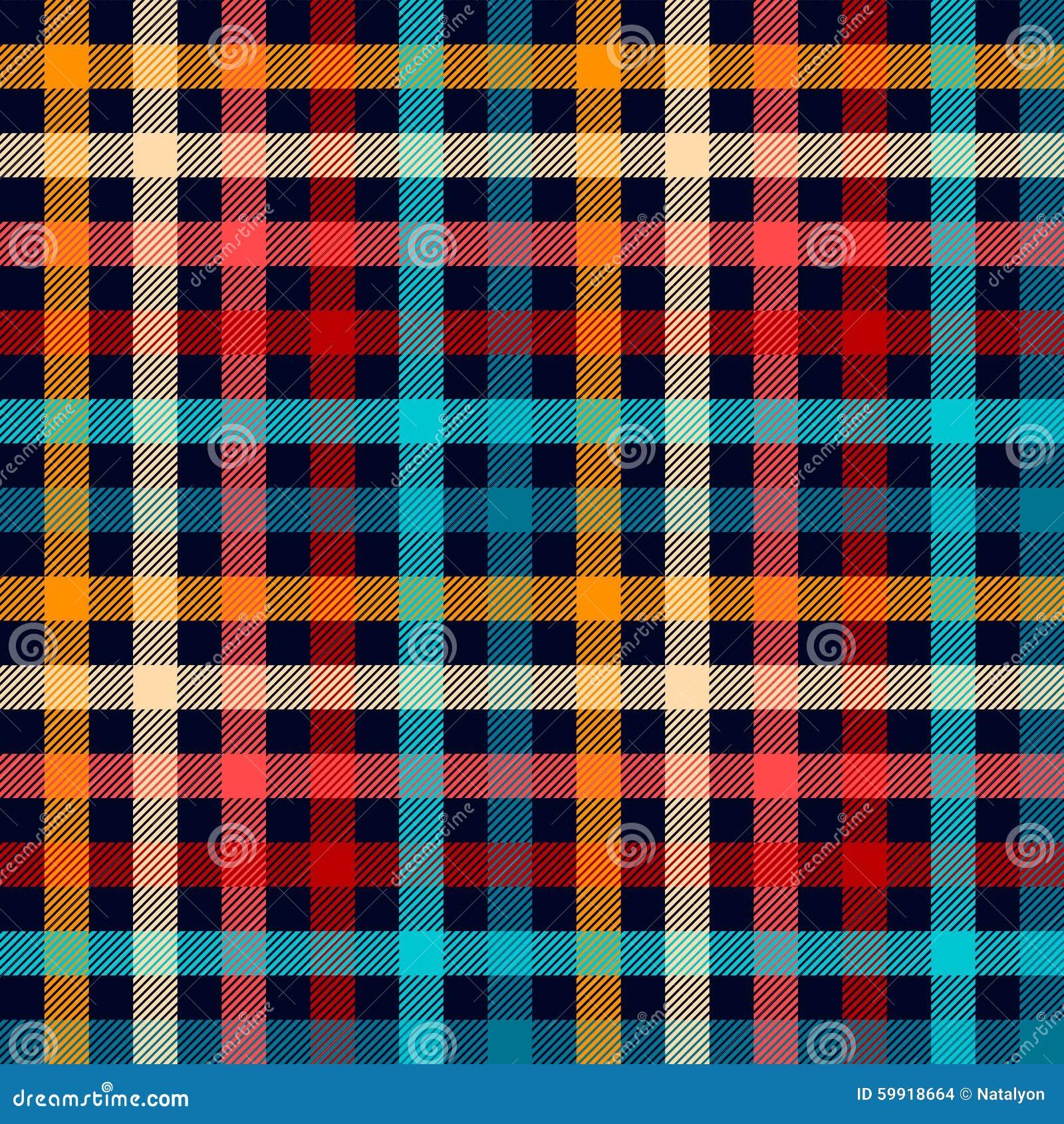 五颜六色的方格的在蓝色白色红色的方格花布格子花呢披肩织品无缝的样式和黄色,传染媒介印刷品