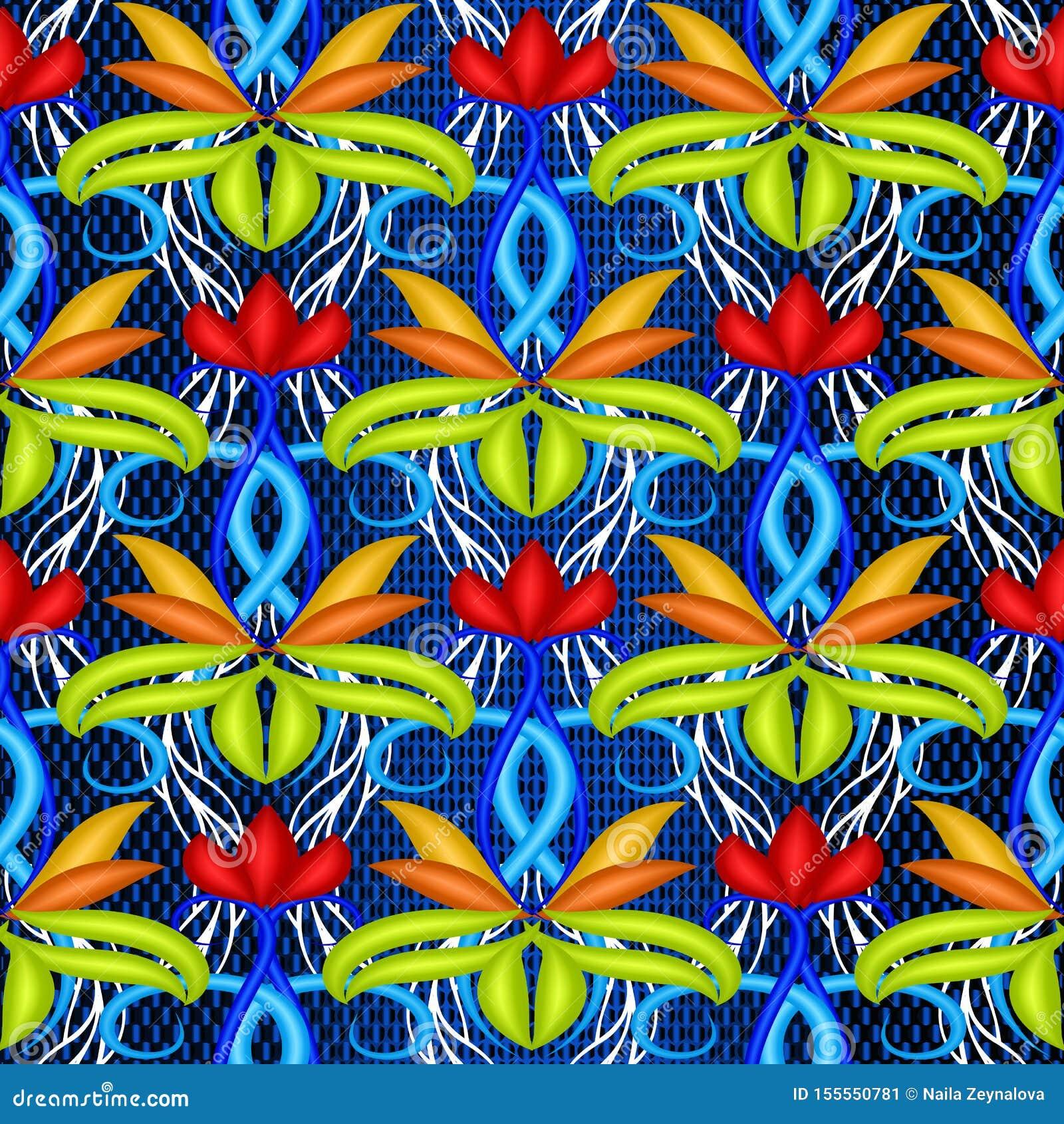 五颜六色的明亮的花卉传染媒介3d无缝的样式 E 装饰装饰重复背景 ?