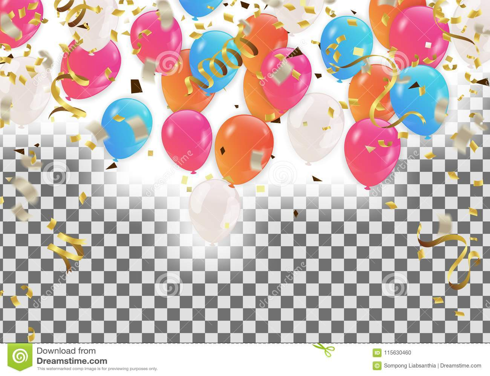 五颜六色的气球生日快乐假日框架或背景wi