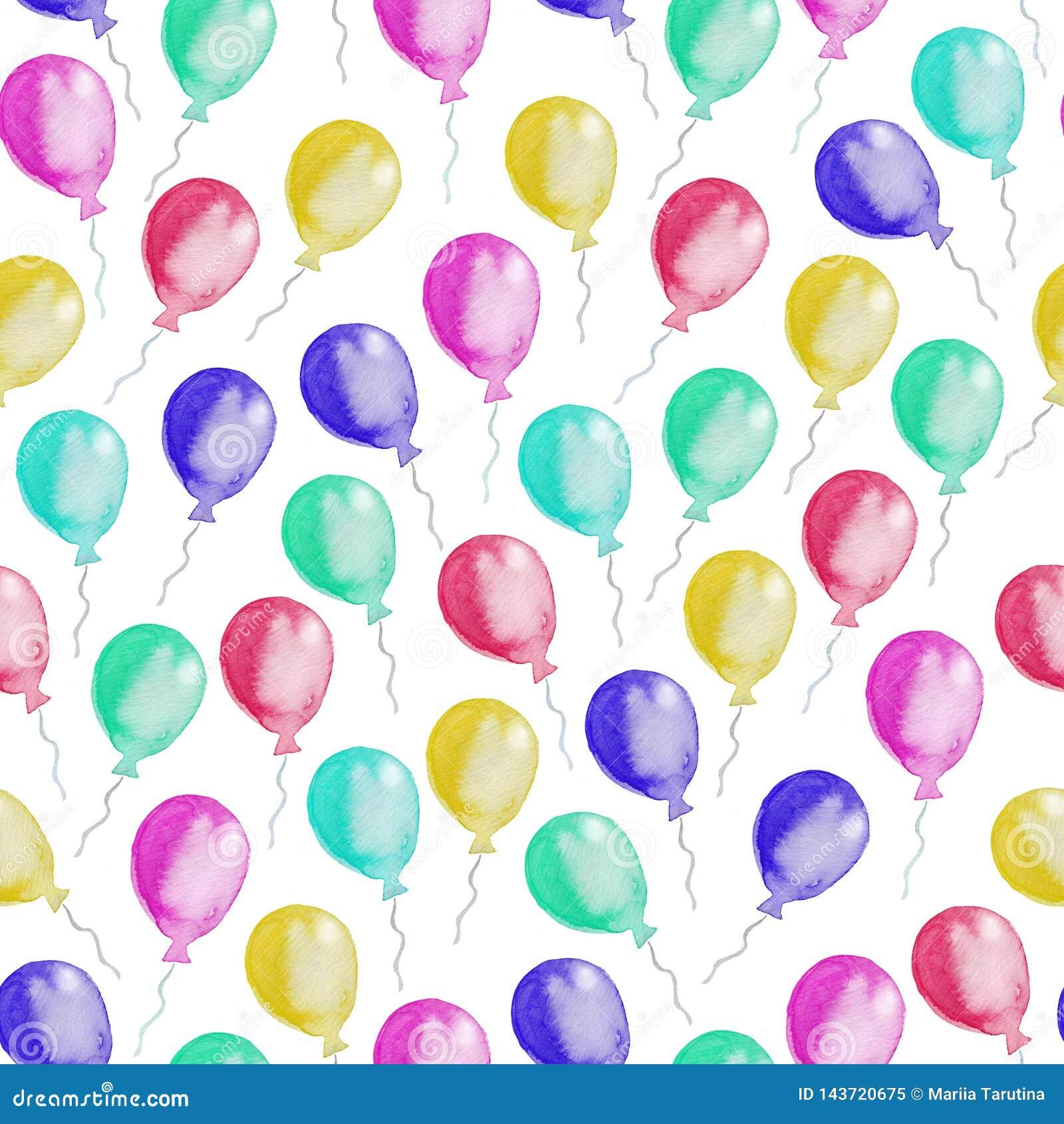 五颜六色的气球的无缝的样式 额嘴装饰飞行例证图象其纸部分燕子水彩