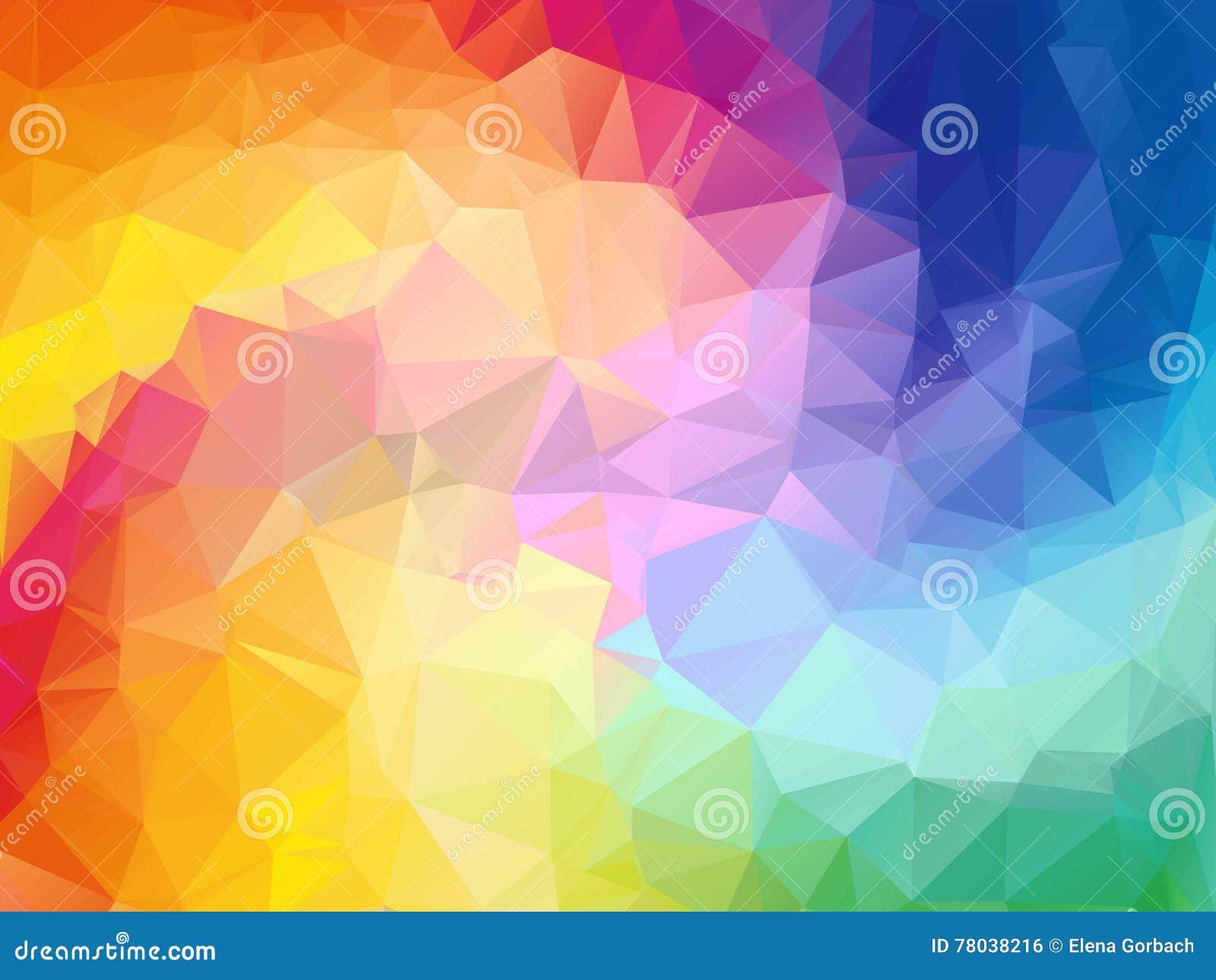 五颜六色的漩涡彩虹多角形背景 抽象五颜六色的向量 几何抽象彩虹颜色的三角