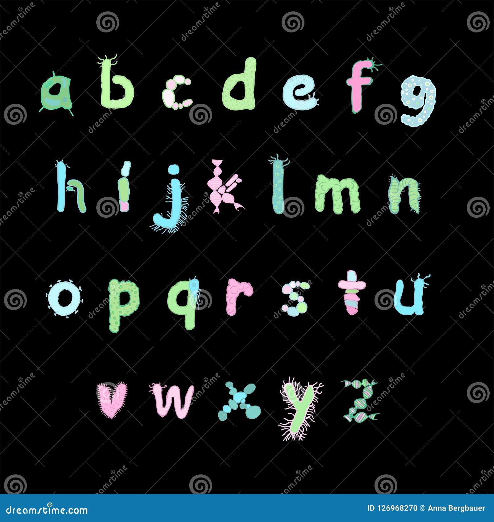 五颜六色的生物字体