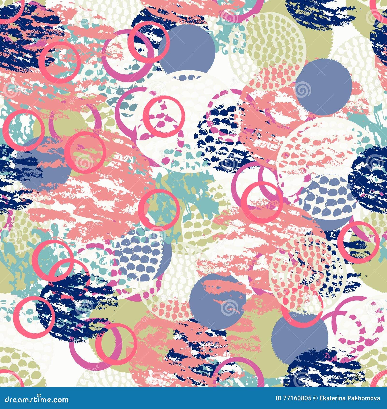 五颜六色的用不同的刷子冲程和形状的难看的东西摘要无缝的样式