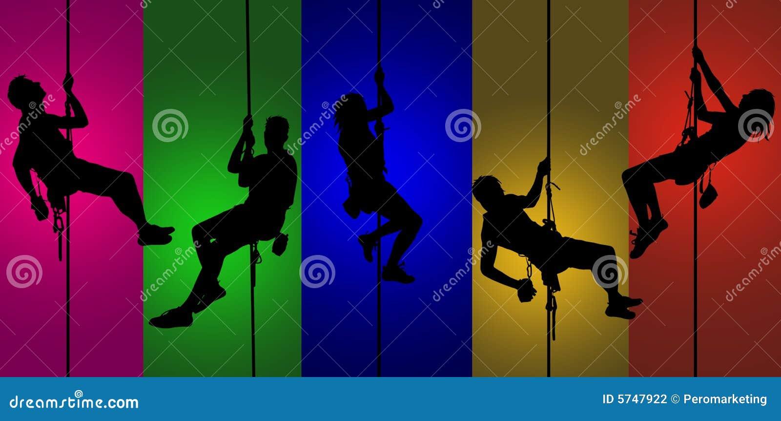 五颜六色的登山人