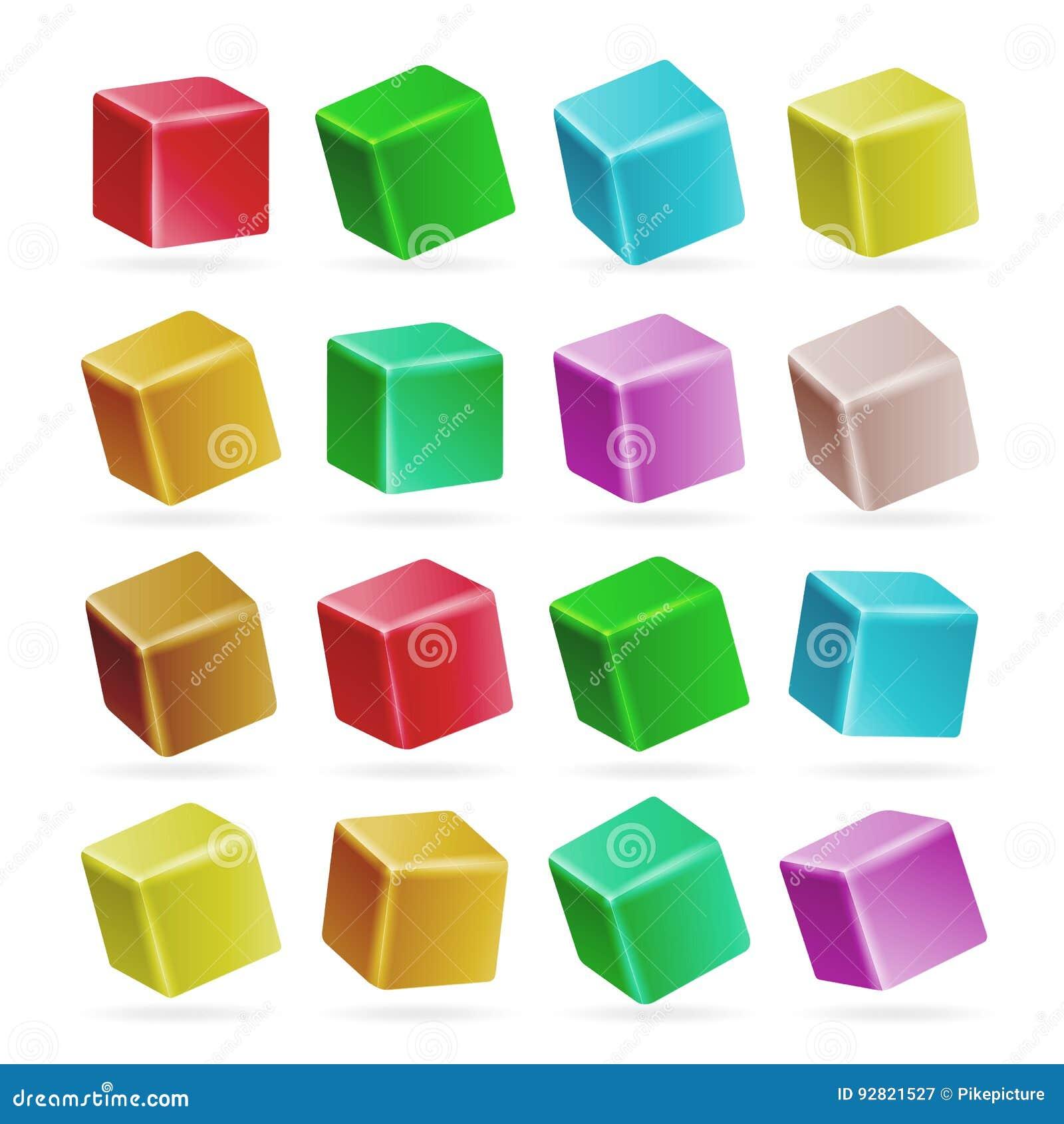 五颜六色的立方体3d集合传染媒介 在白色隔绝的立方体的透视空的模型 演奏儿童玩具