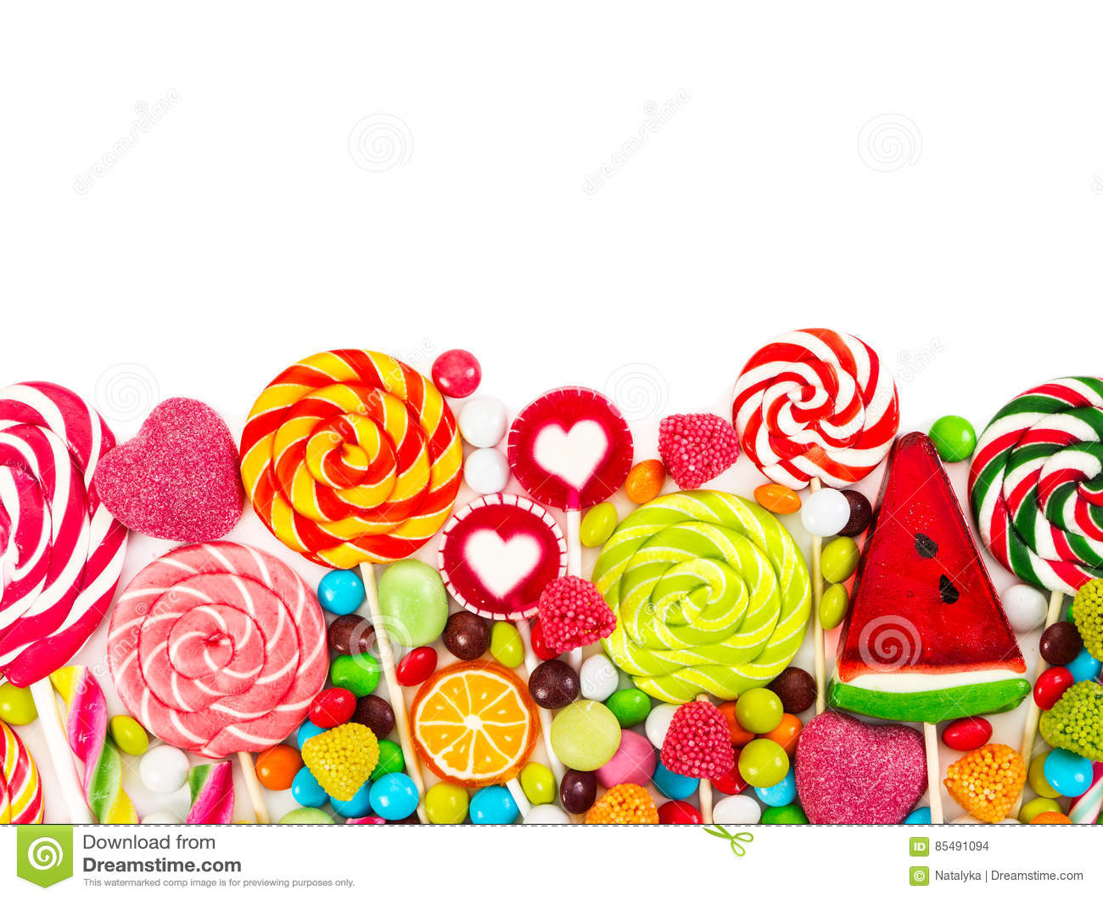 五颜六色的糖果和棒棒糖 顶视图
