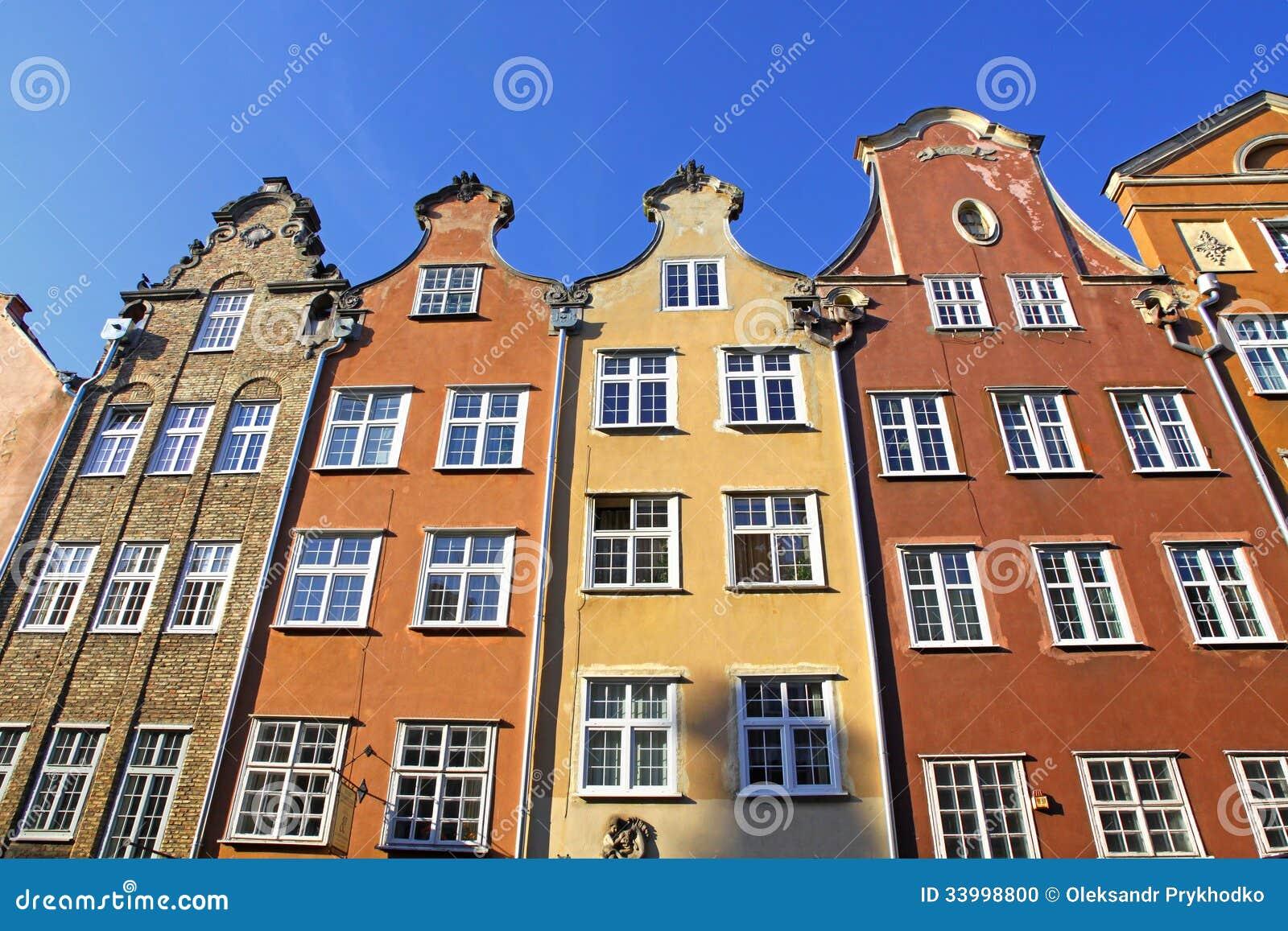 五颜六色的老大厦在市格但斯克,波兰