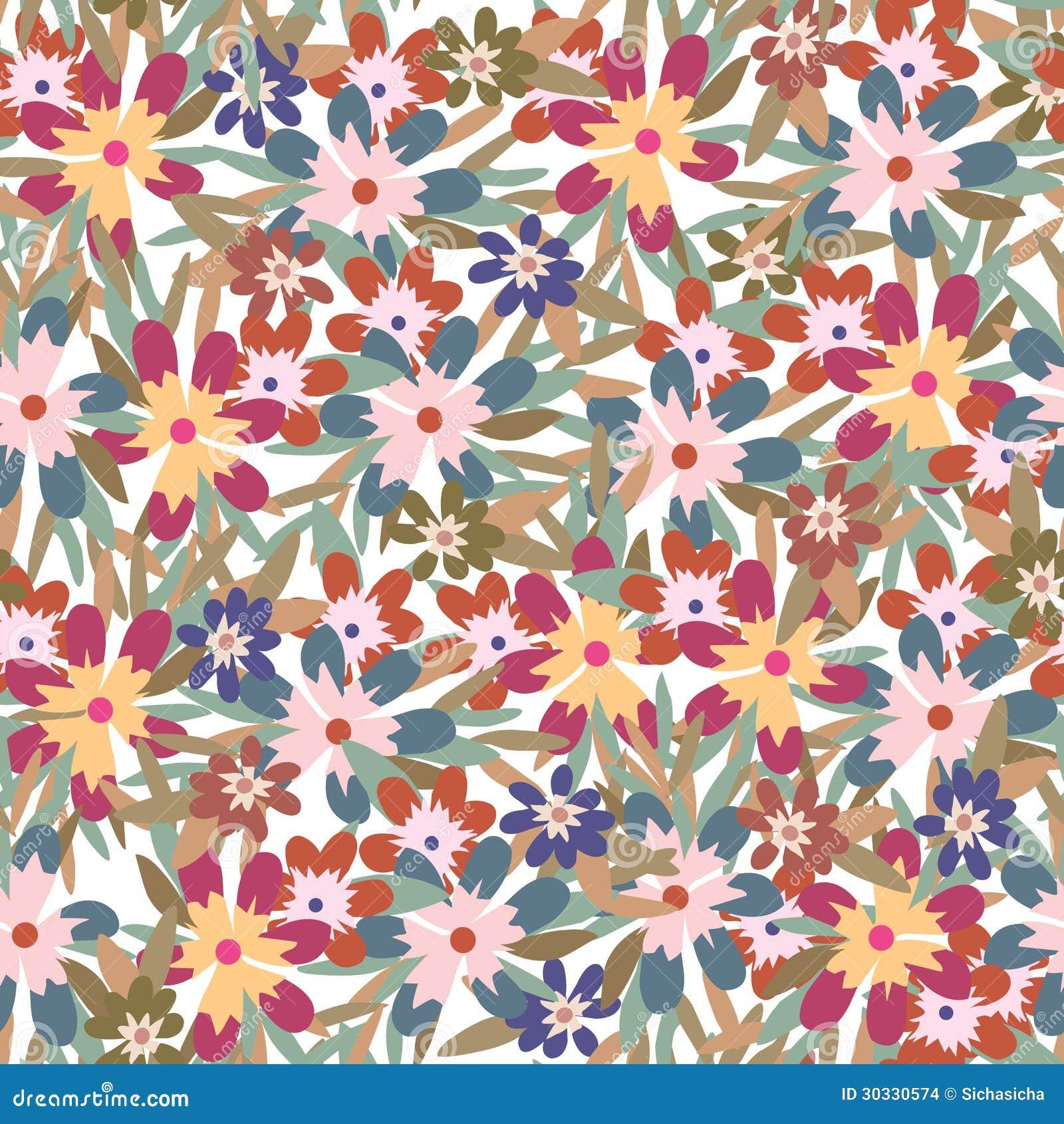 五颜六色的花和叶子背景的无缝的样式