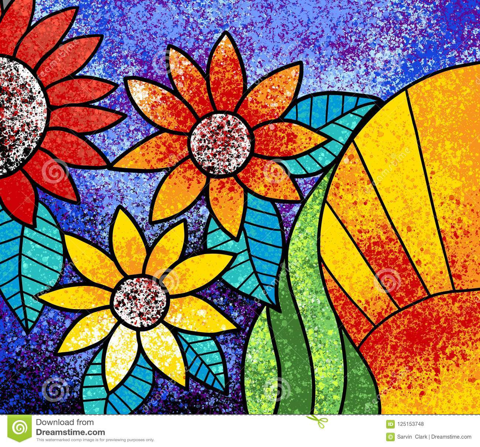 五颜六色的花帆布数字式绘画艺术品