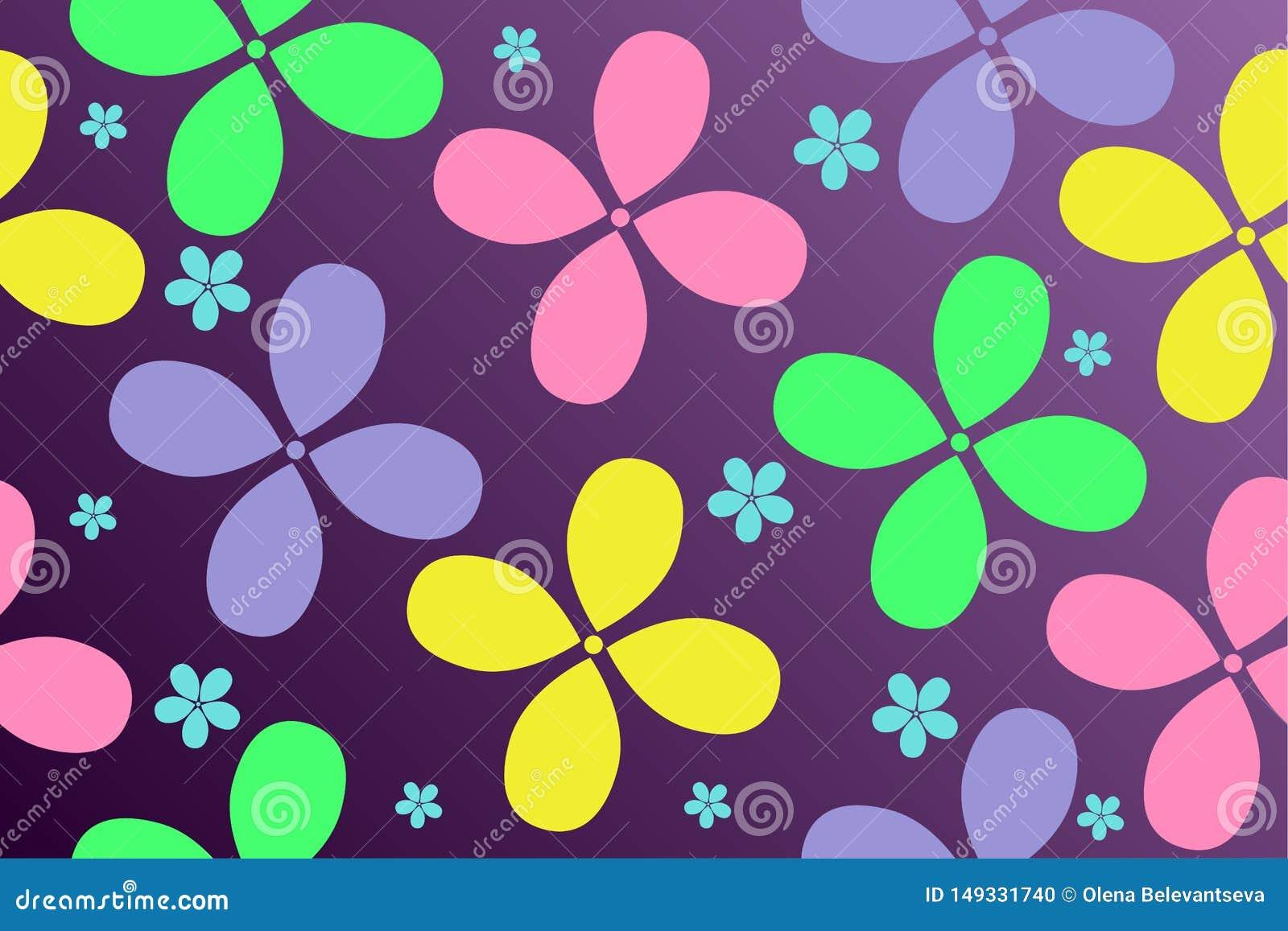 五颜六色的花的样式在梯度背景的儿童的事设计的