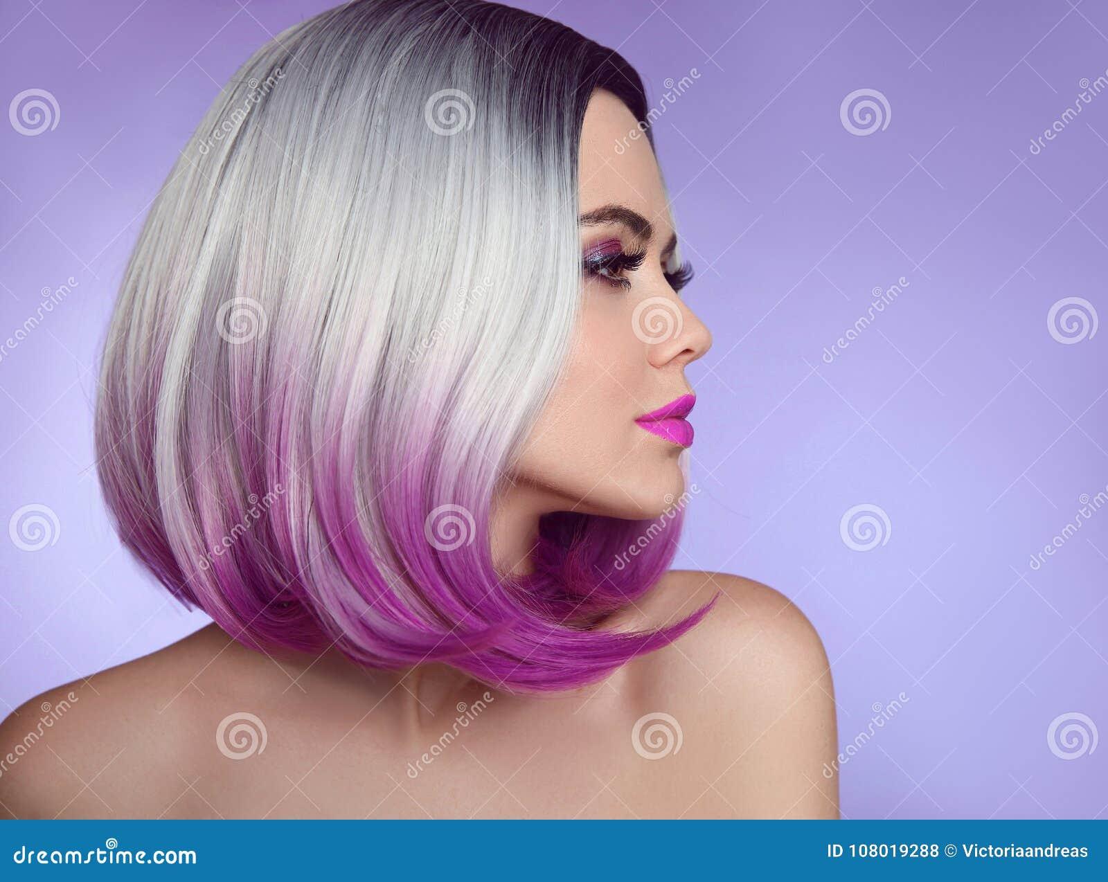 五颜六色的被洗染的Ombre头发引伸 时尚理发 秀丽Mod
