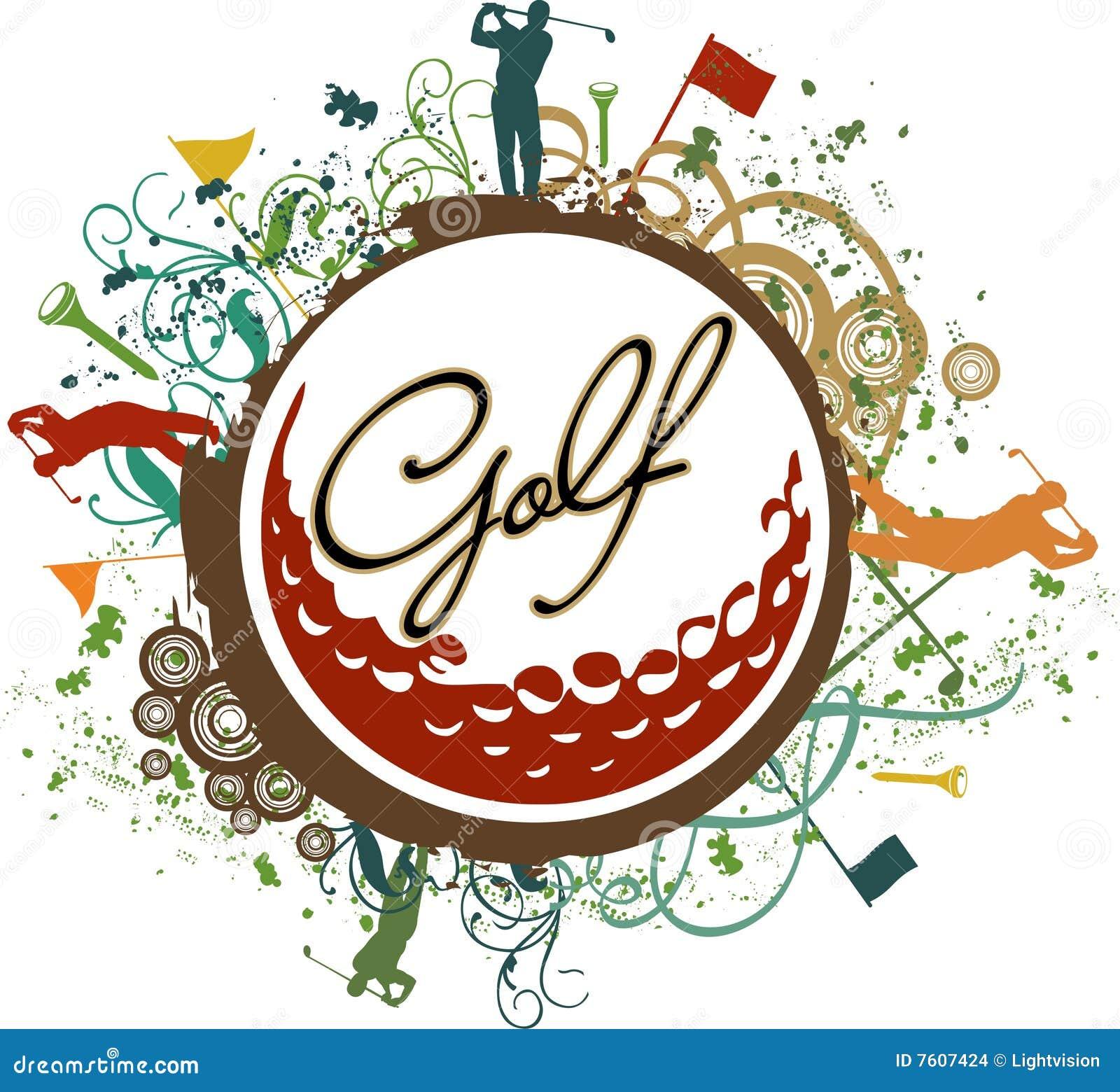 五颜六色的高尔夫球grunge图标