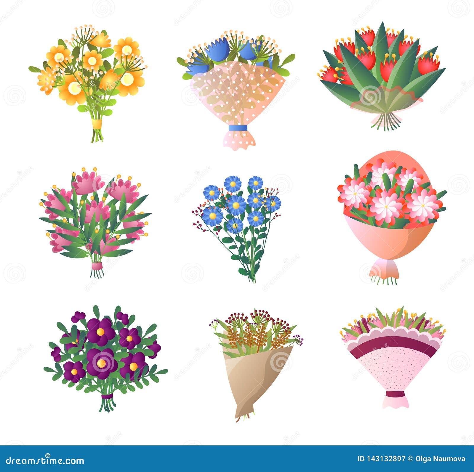 五颜六色的鲜花花束在白色设置了被隔绝