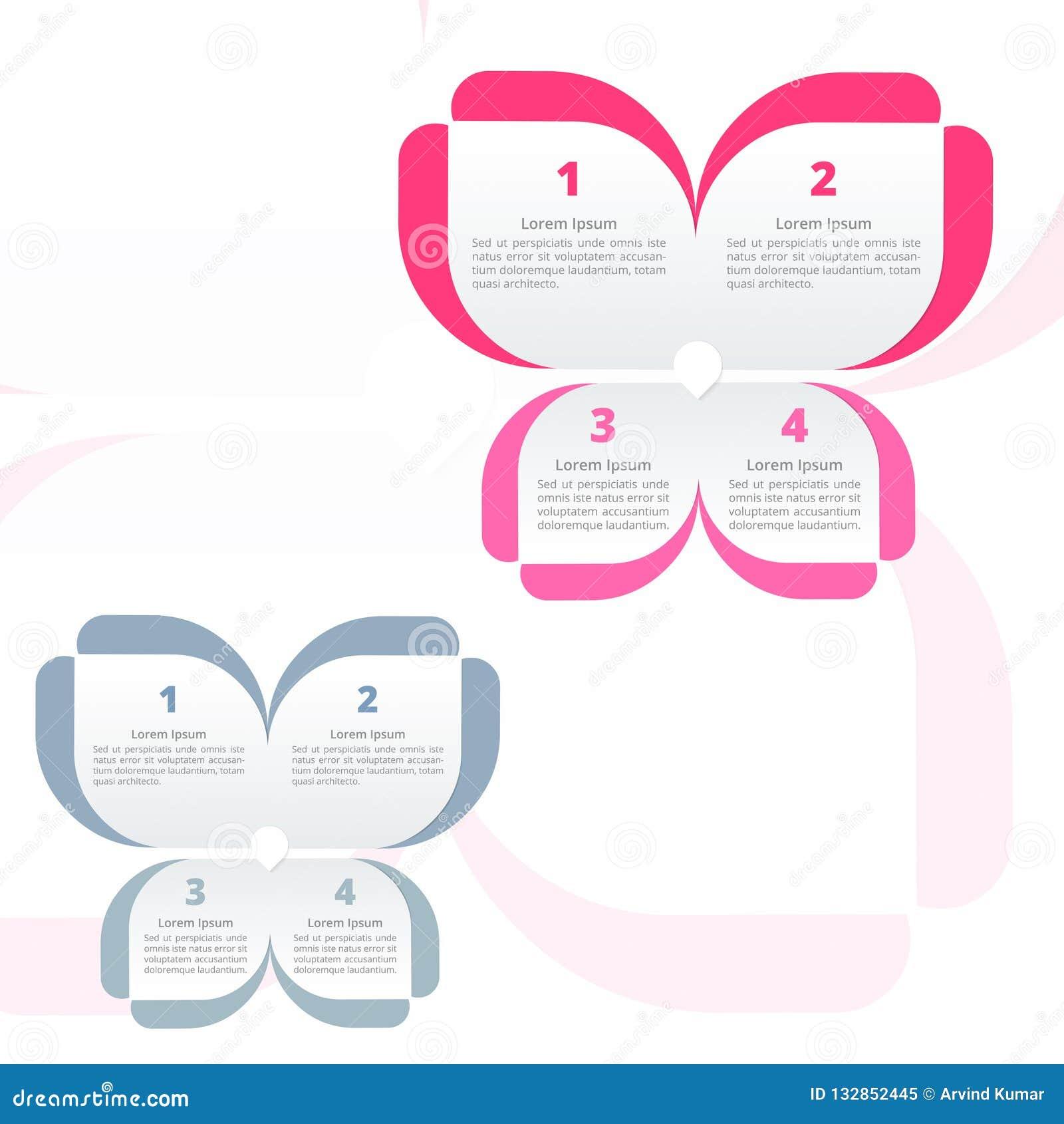 五颜六色花Infographics的蝴蝶,4选择或者步处理图,理想对公司业务介绍
