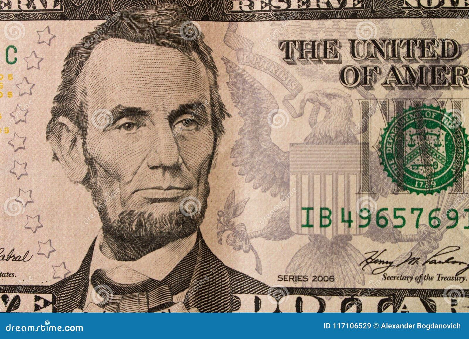 亚伯拉罕・林肯总统画象5美金的 关闭