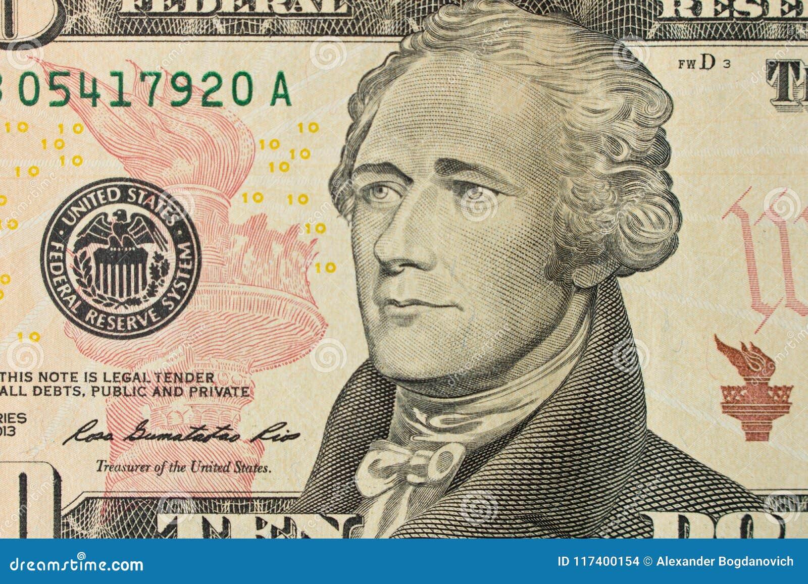 亚历山大・汉密尔顿画象10美金的 关闭