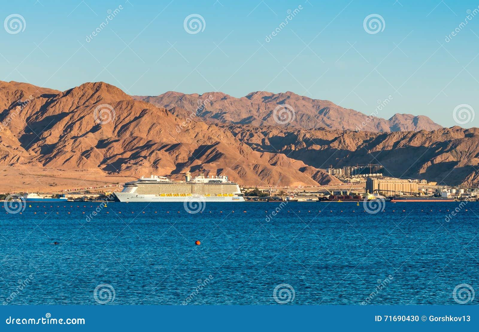 亚喀巴,约旦- 2016年5月19日:皇家加勒比国际游轮,海的热烈的欢迎