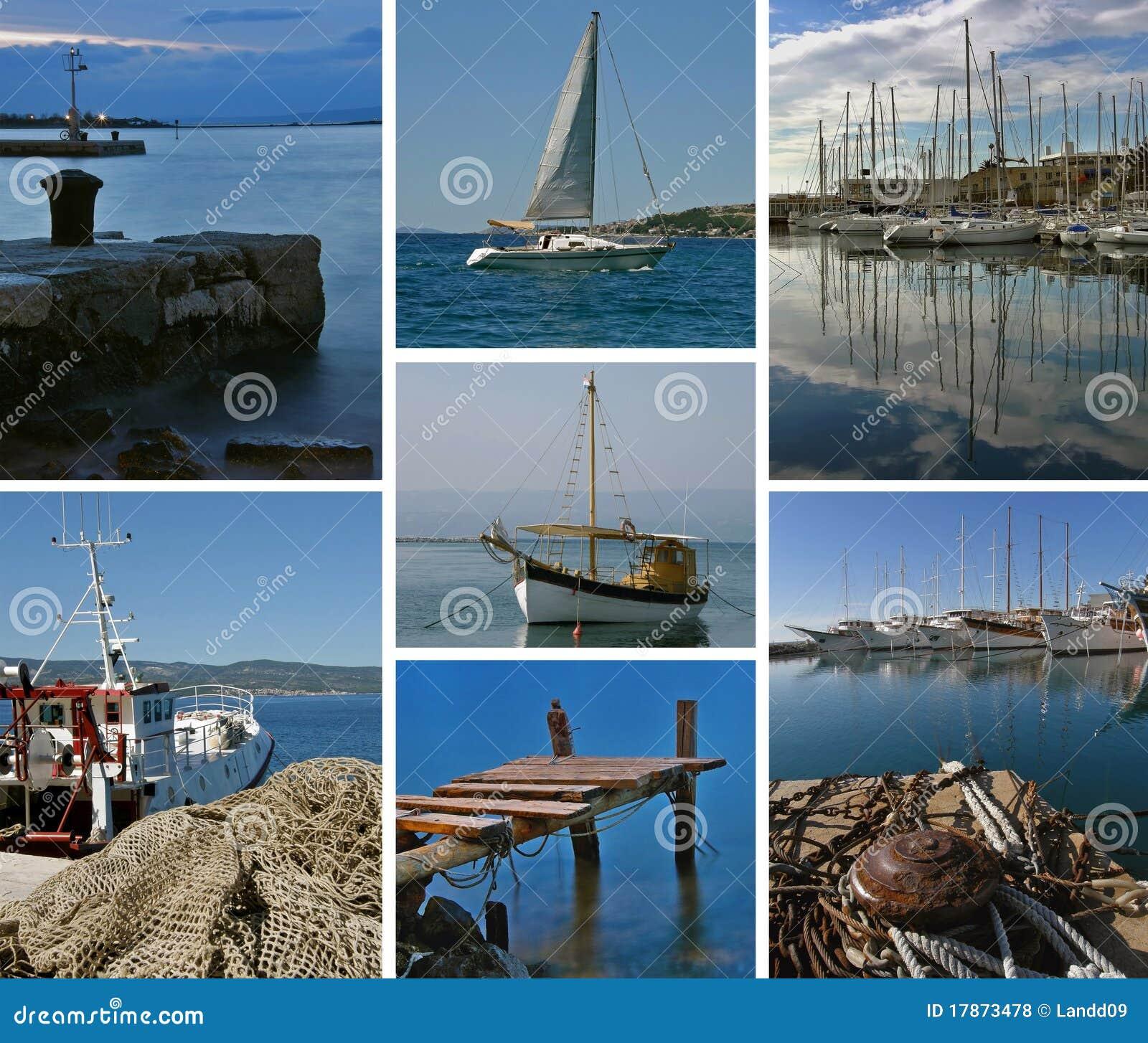 亚得里亚海的小船拼贴画海运