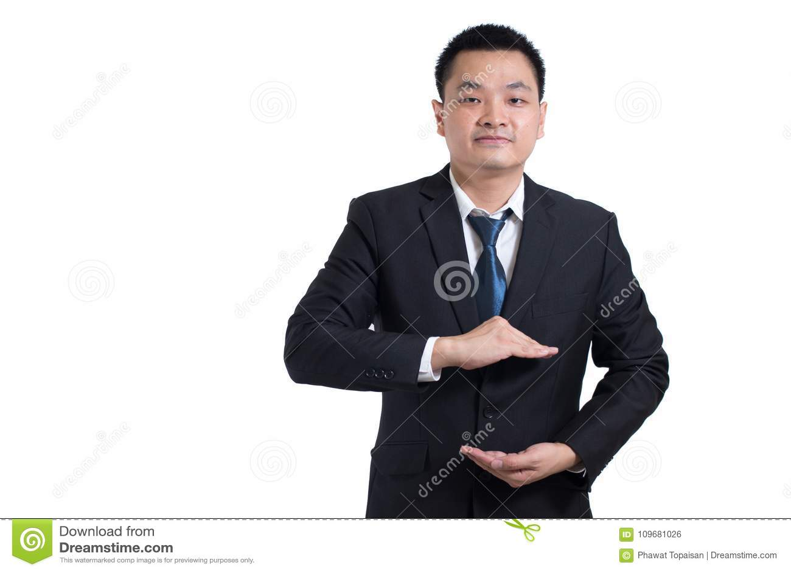 亚洲商人手打开 您的对象在这里 商人
