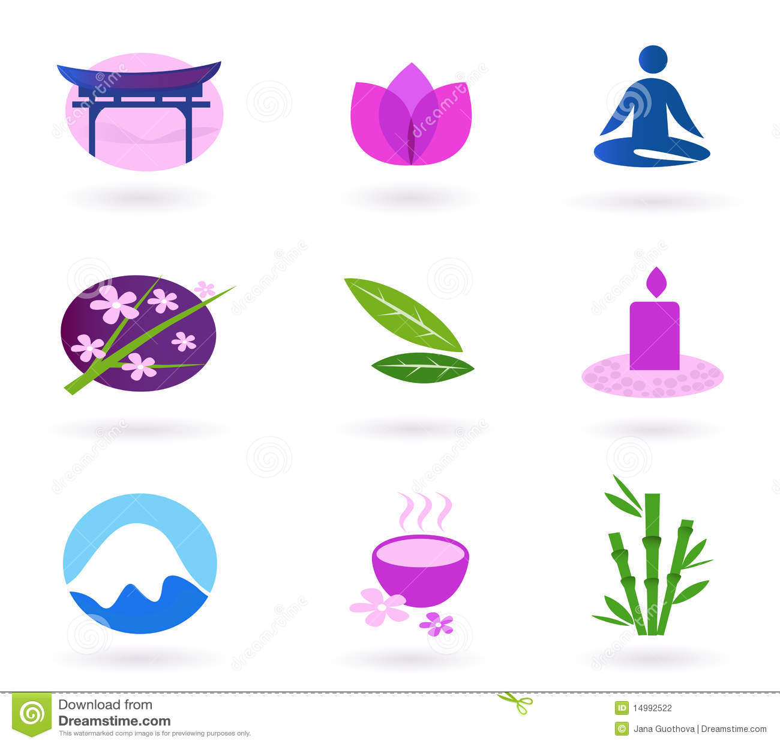 亚洲图标放松集合温泉健康