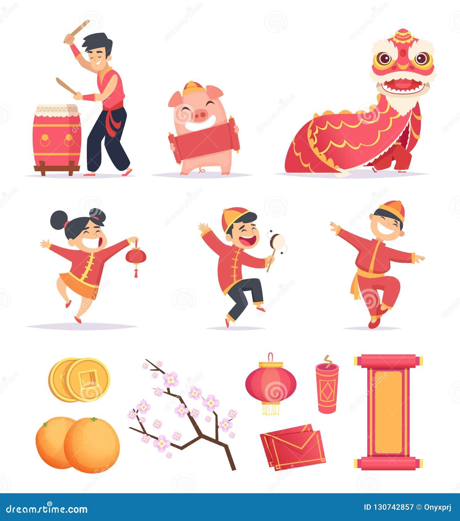 亚洲新年度 愉快的中国人庆祝2019年与传统标志龙灯笼爆竹传染媒介