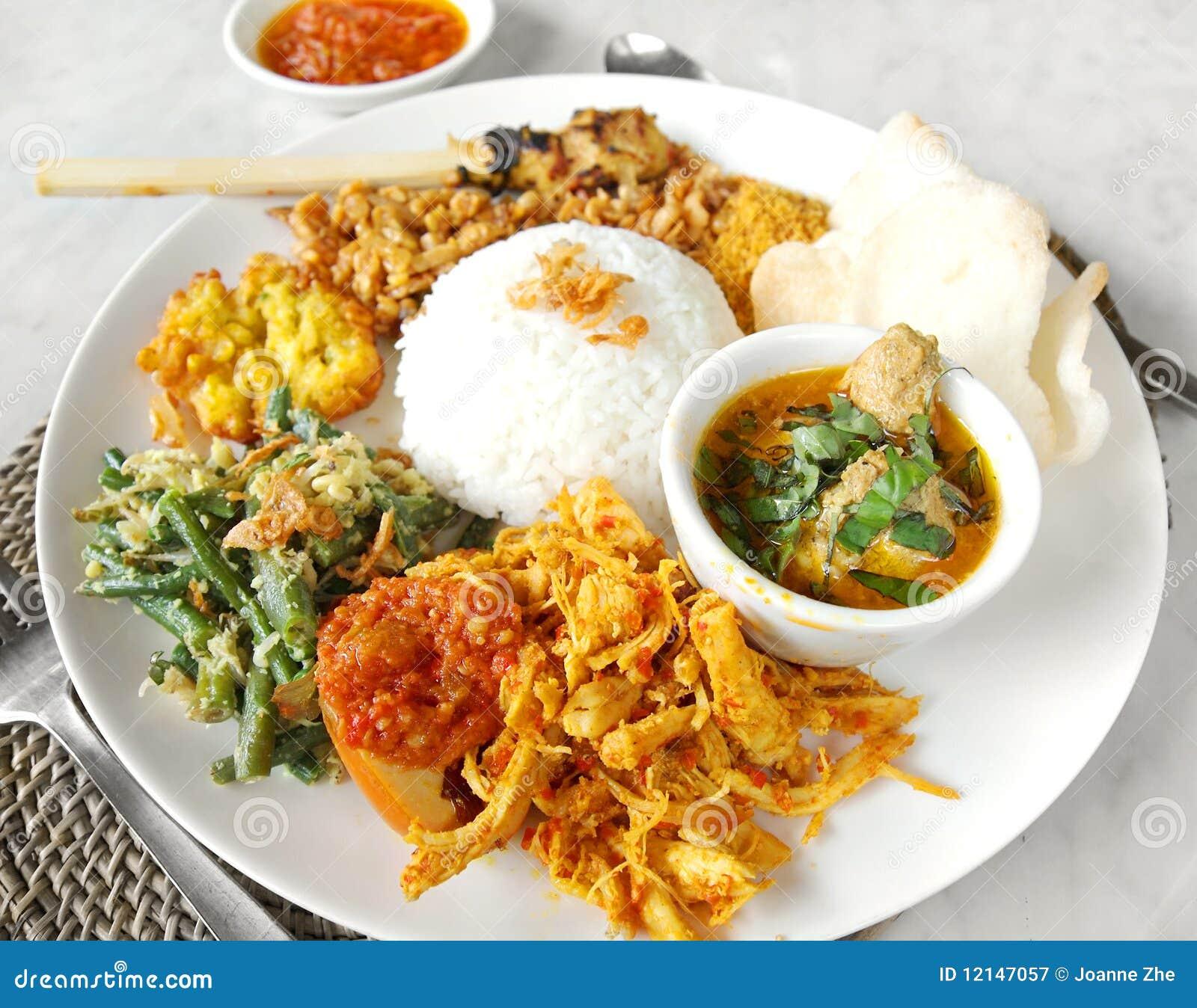 亚洲campur民族风味的食品nasi