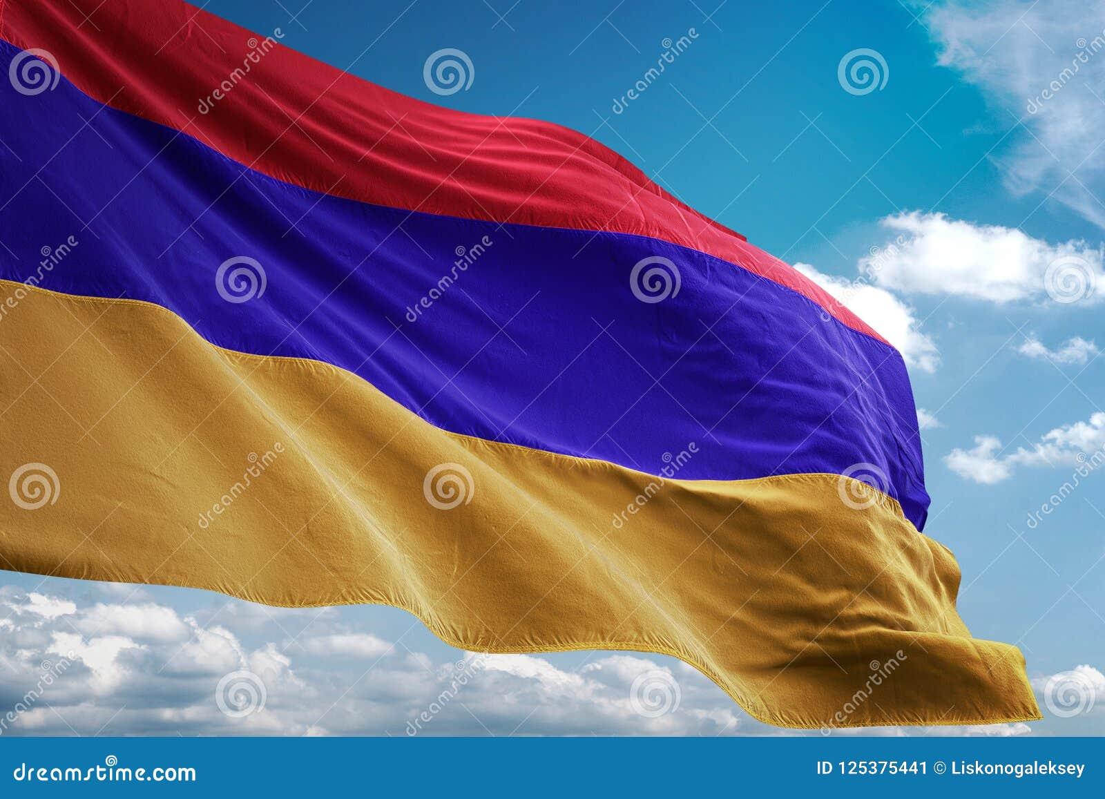 亚美尼亚全国沙文主义情绪的蓝天背景现实3d例证