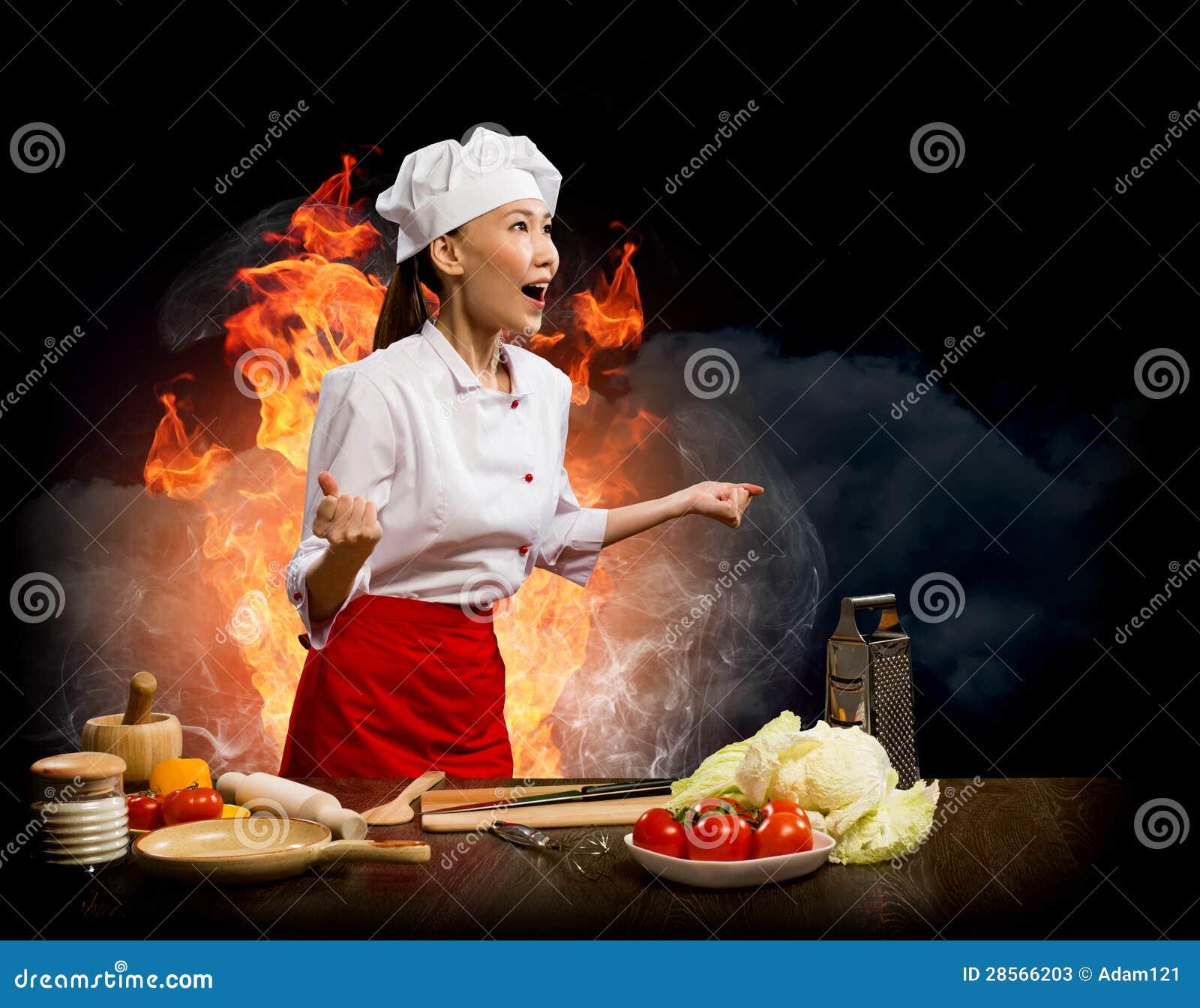 亚裔妇女愤怒的厨师,拼贴画