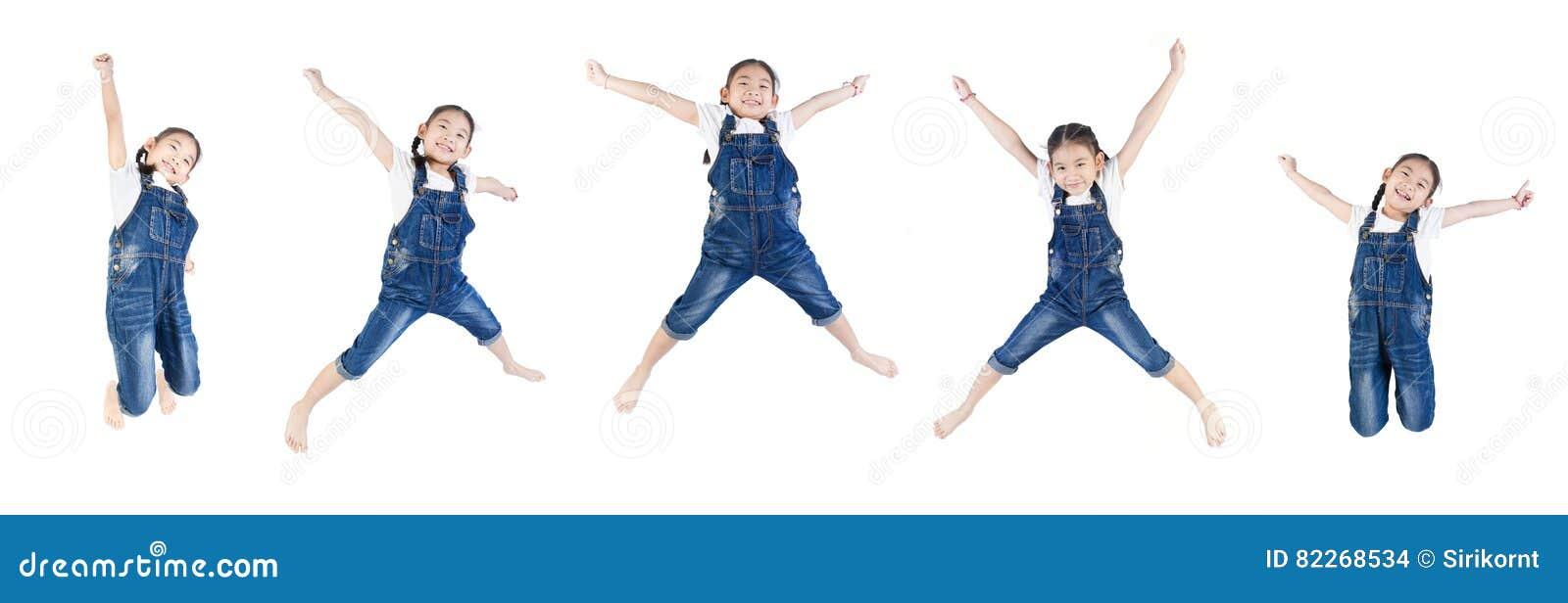 亚裔逗人喜爱的孩子跳