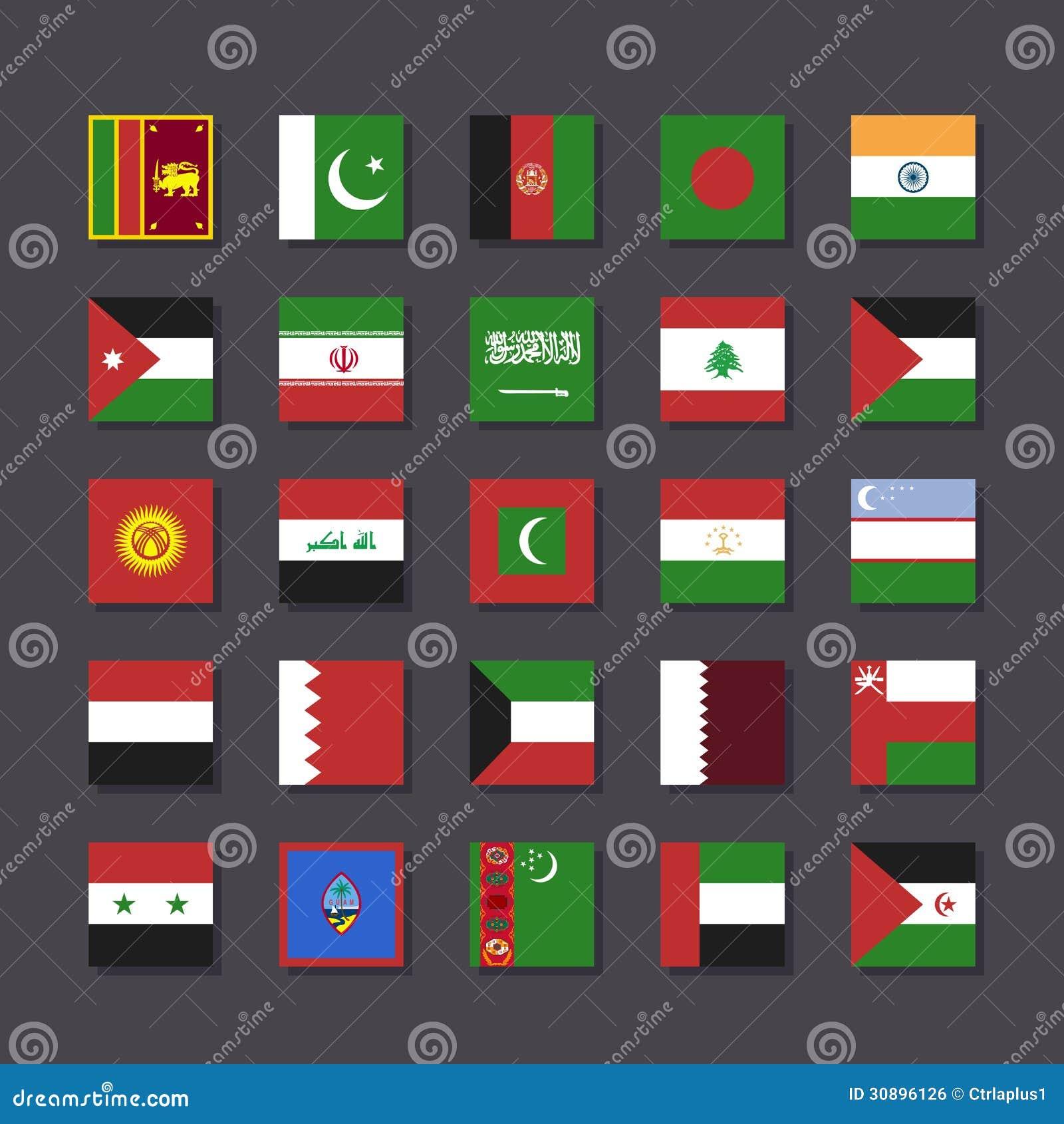 亚洲中东旗子象集合地铁样式