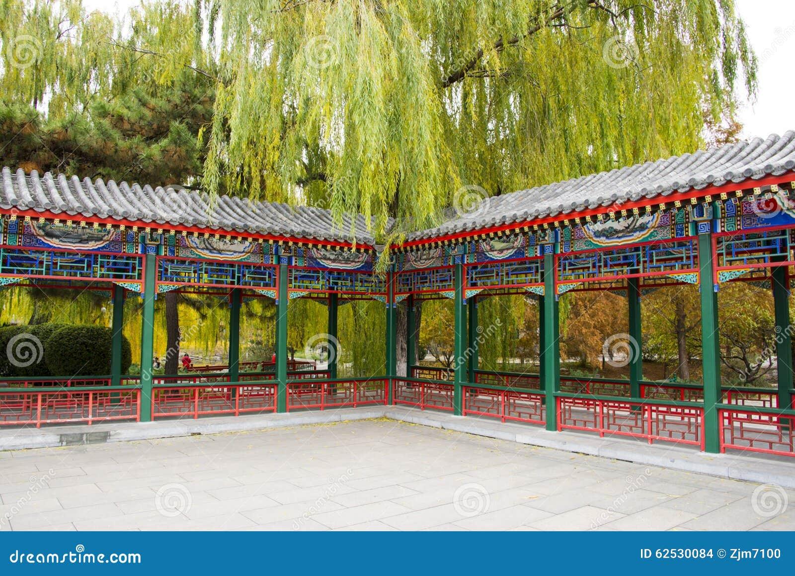 亚洲中国,北京,中山公园,古色古香的大厦,亭子画廊