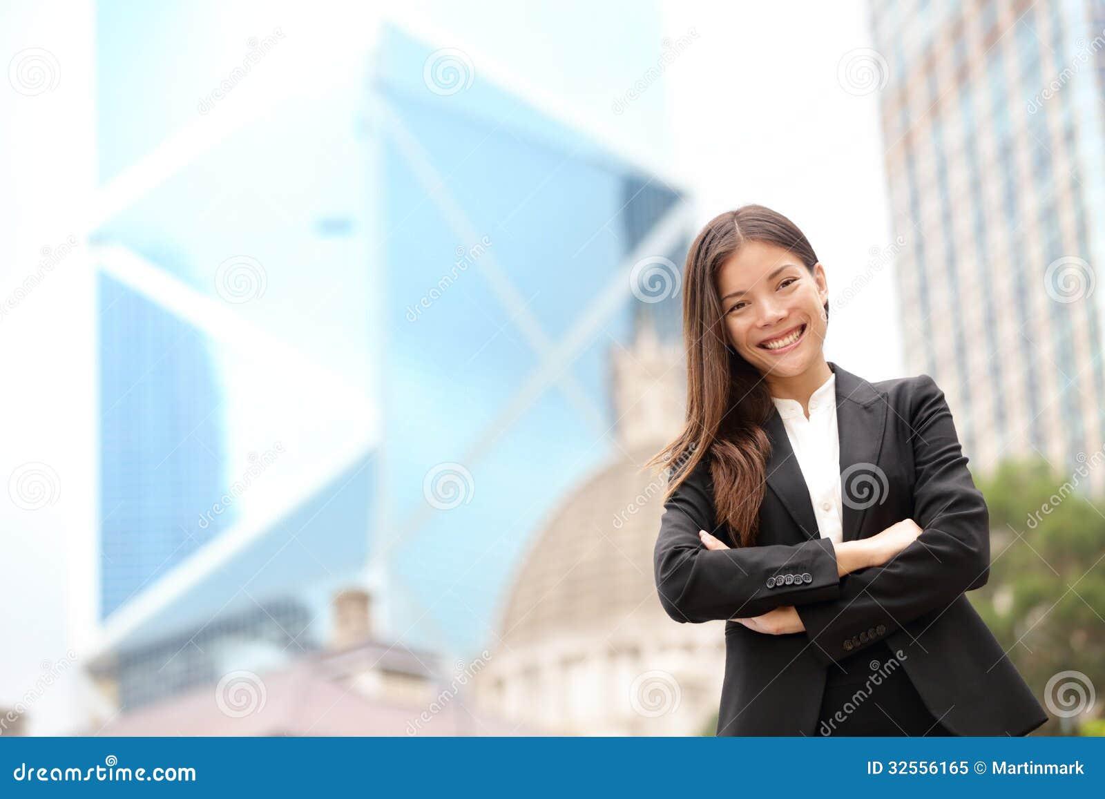 年轻亚洲商人女实业家画象