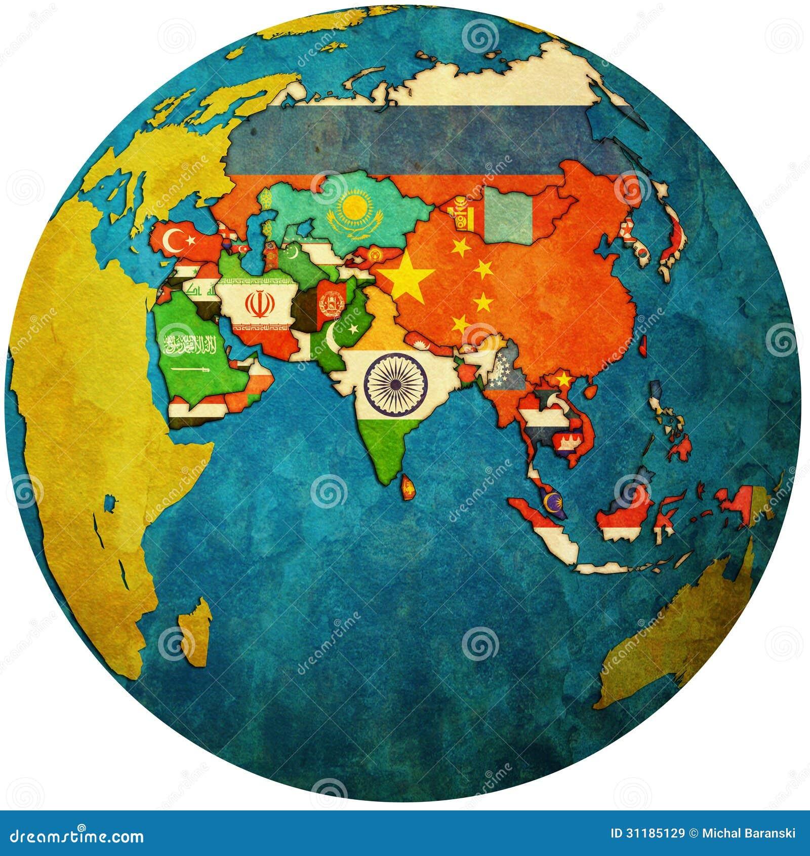 亚洲国家_隔绝在亚洲国家白色疆土有旗子的在地球地图.