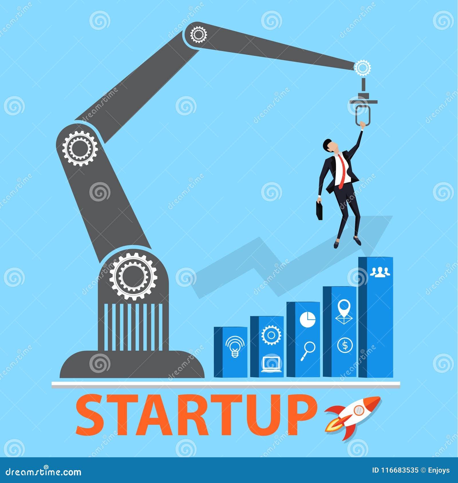 交易起步概念 奋斗为成长图表的经理与创新或起动