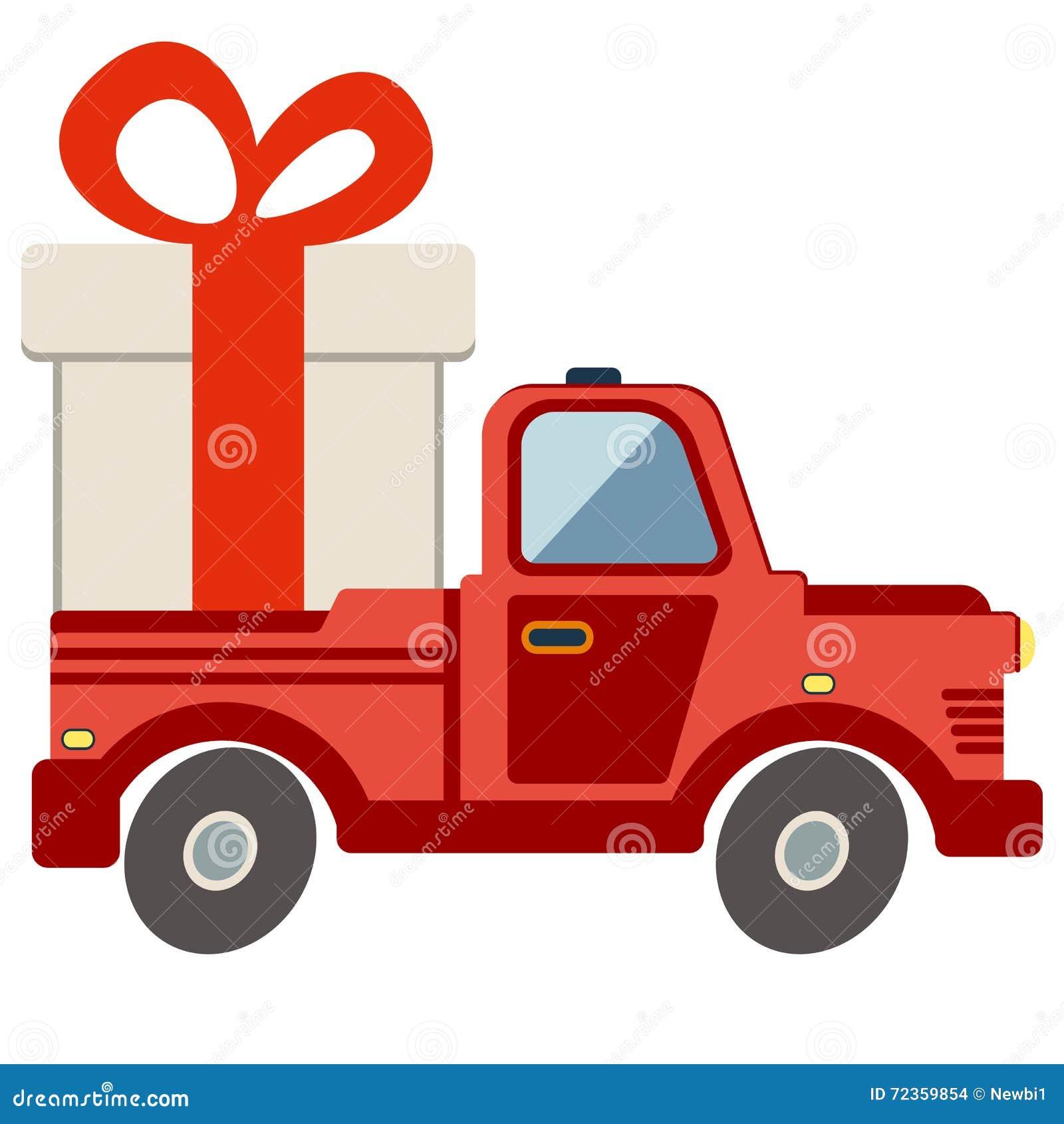 交付平的运输卡车,有礼物盒组装的搬运车在白色