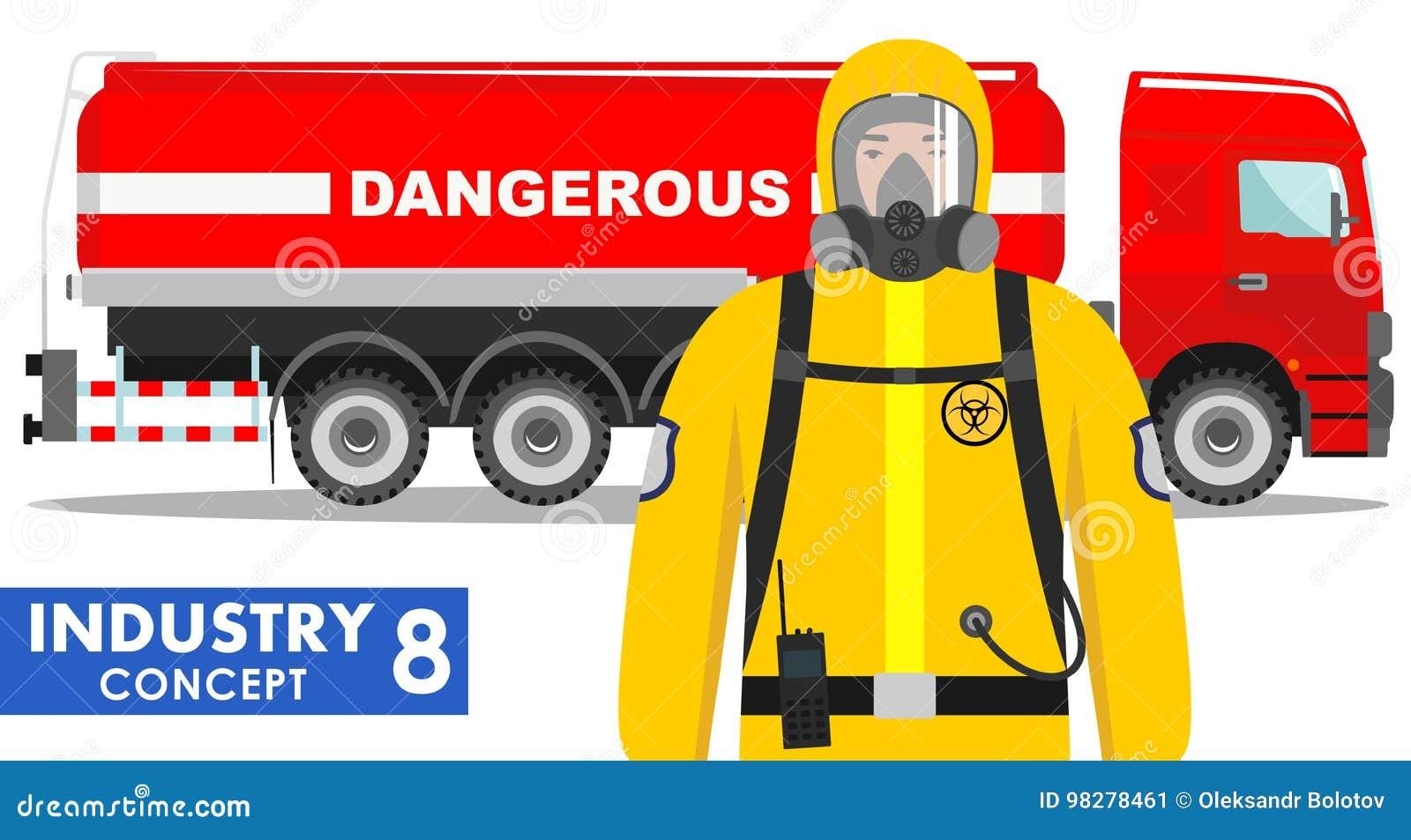 产业概念 储水池卡车运载的化学制品,放射性,毒性,危害物质的详细的例证和