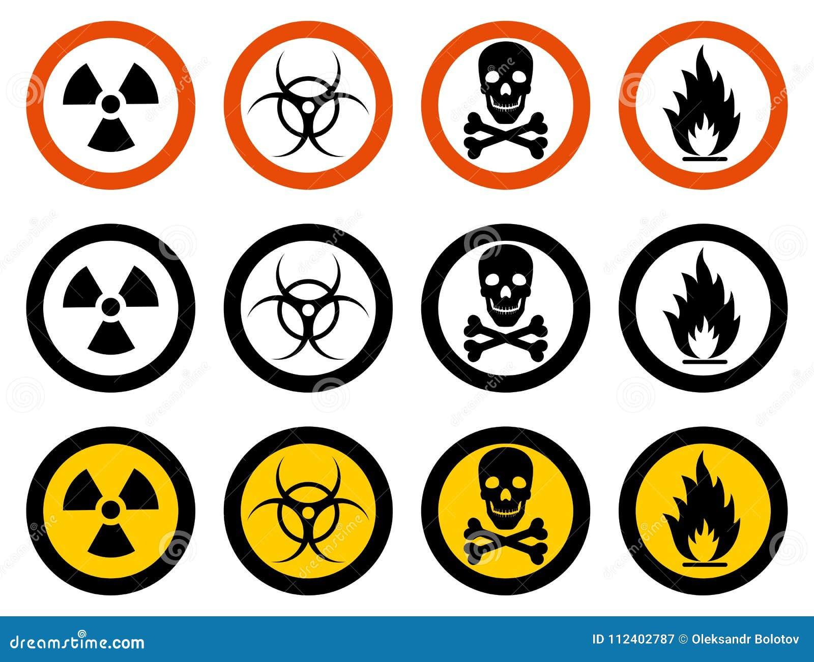 产业概念 套不同的标志:化学制品,放射性,危险,毒性,毒,危害物质