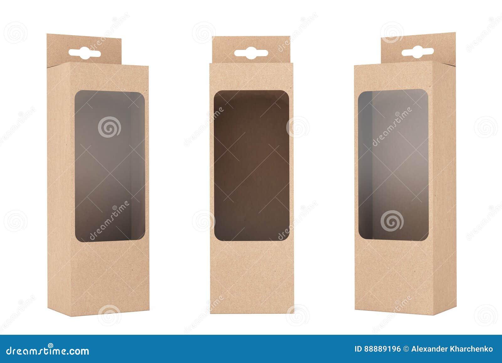 产品有吊槽孔和透明影片窗口的包裹箱子
